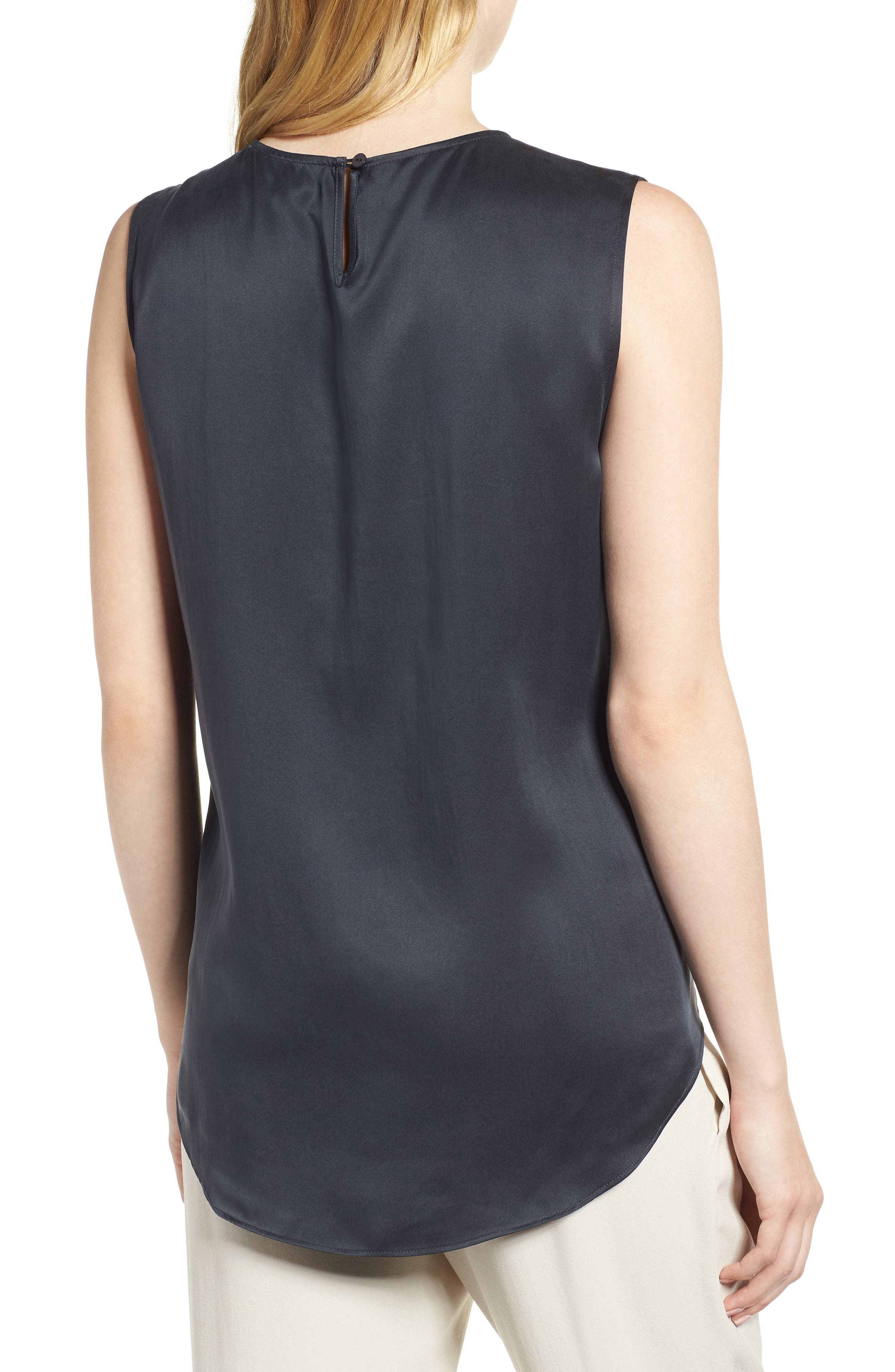 Round Neck Silk Tank,                             Alternate thumbnail 2, color,                             Graphite