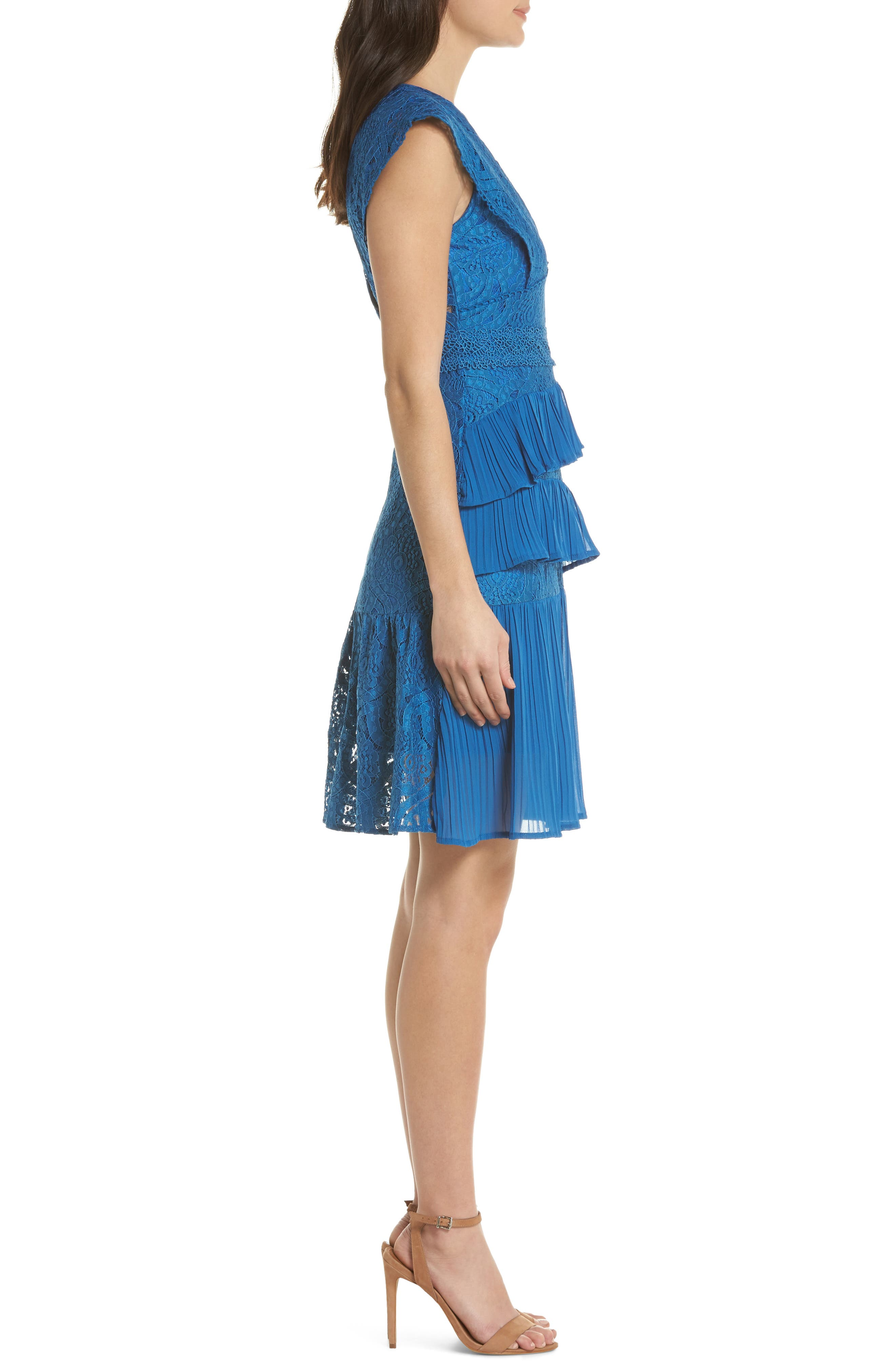 Clover Lace Tiered Dress,                             Alternate thumbnail 3, color,                             Navy