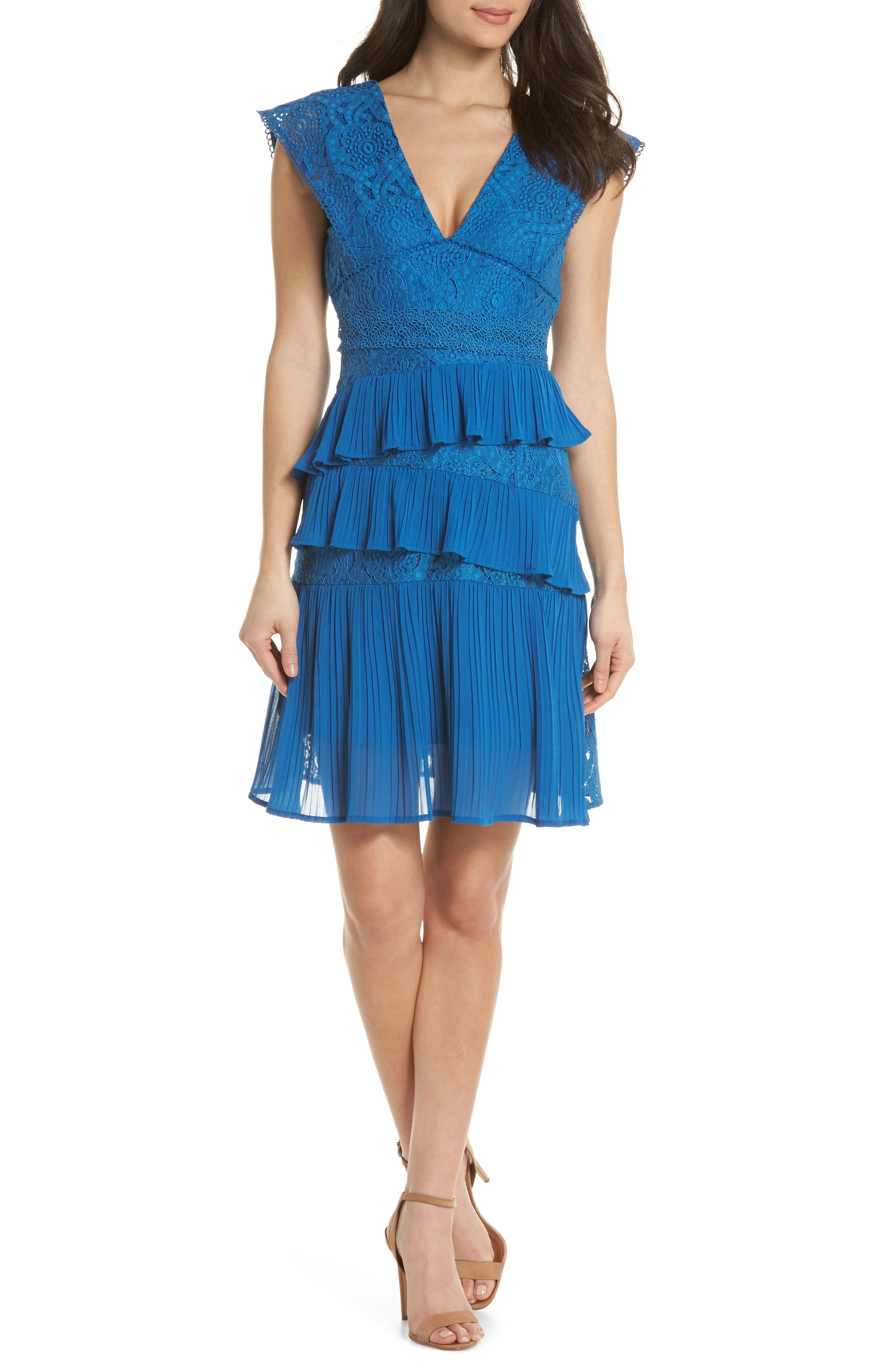 Clover Lace Tiered Dress,                             Main thumbnail 1, color,                             Navy