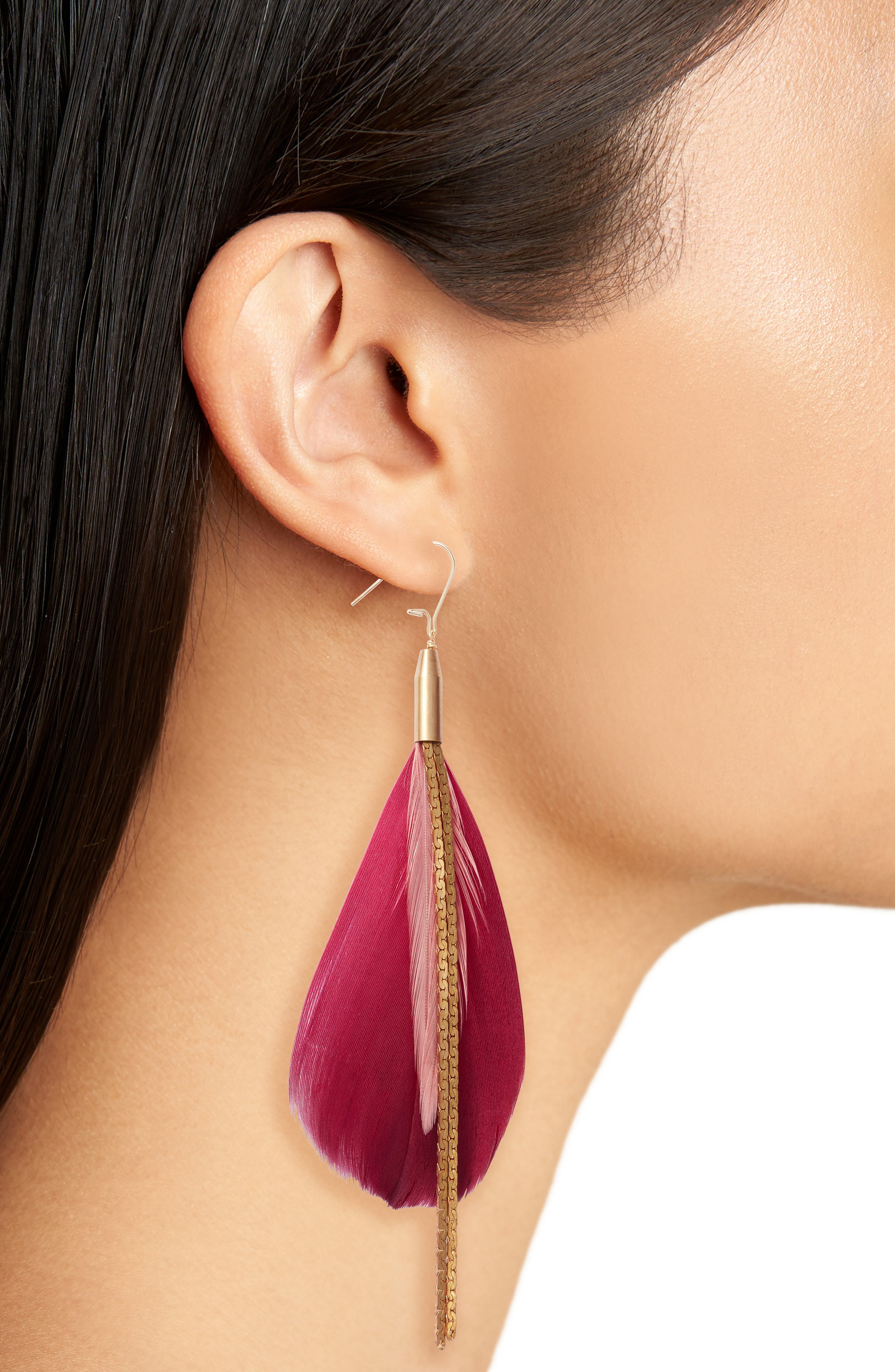 Vintage Feather Drop Earrings,                             Alternate thumbnail 2, color,                             Gold/ Red