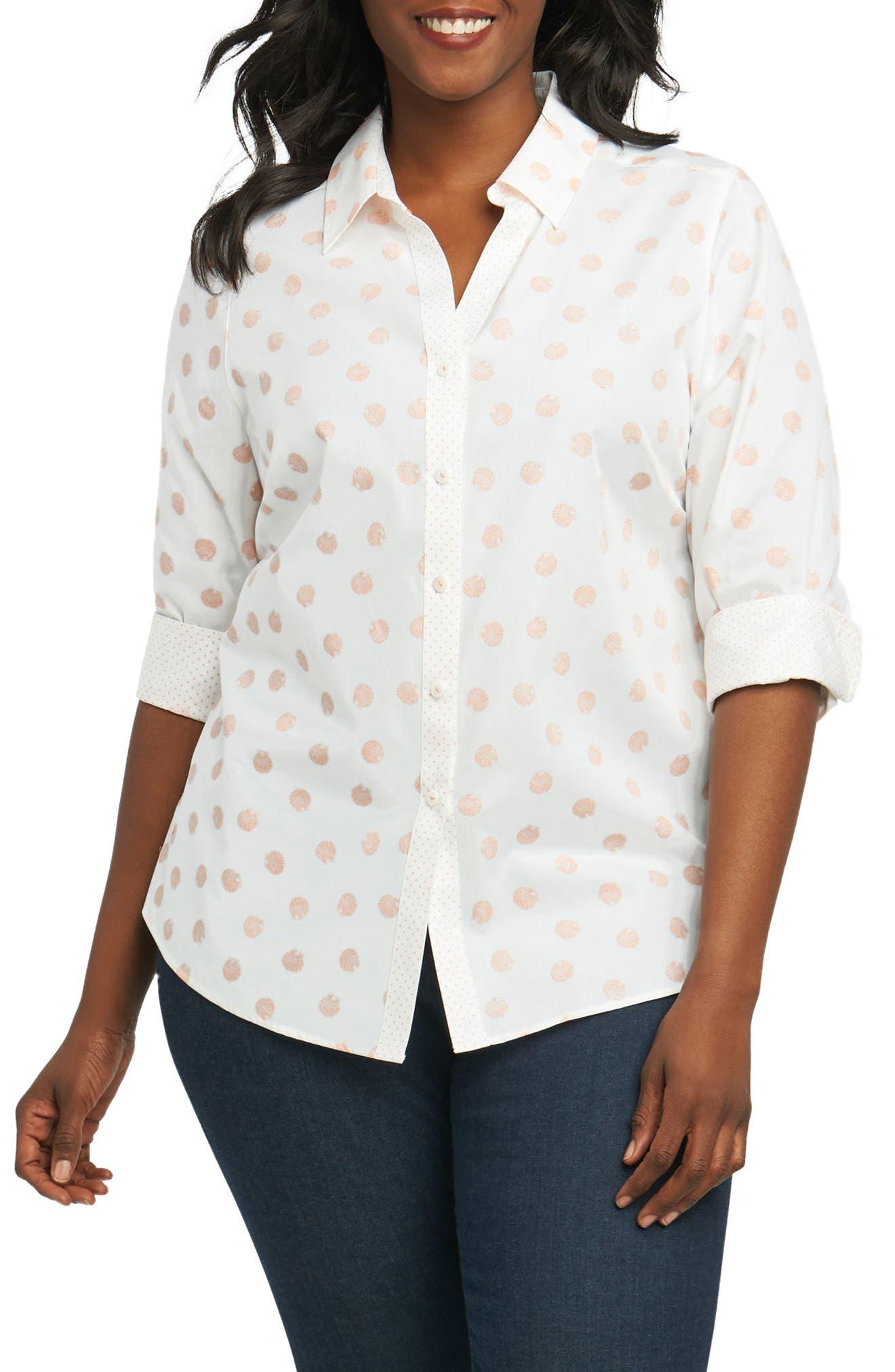 Mary Seashell Shirt,                         Main,                         color, Shell Coral