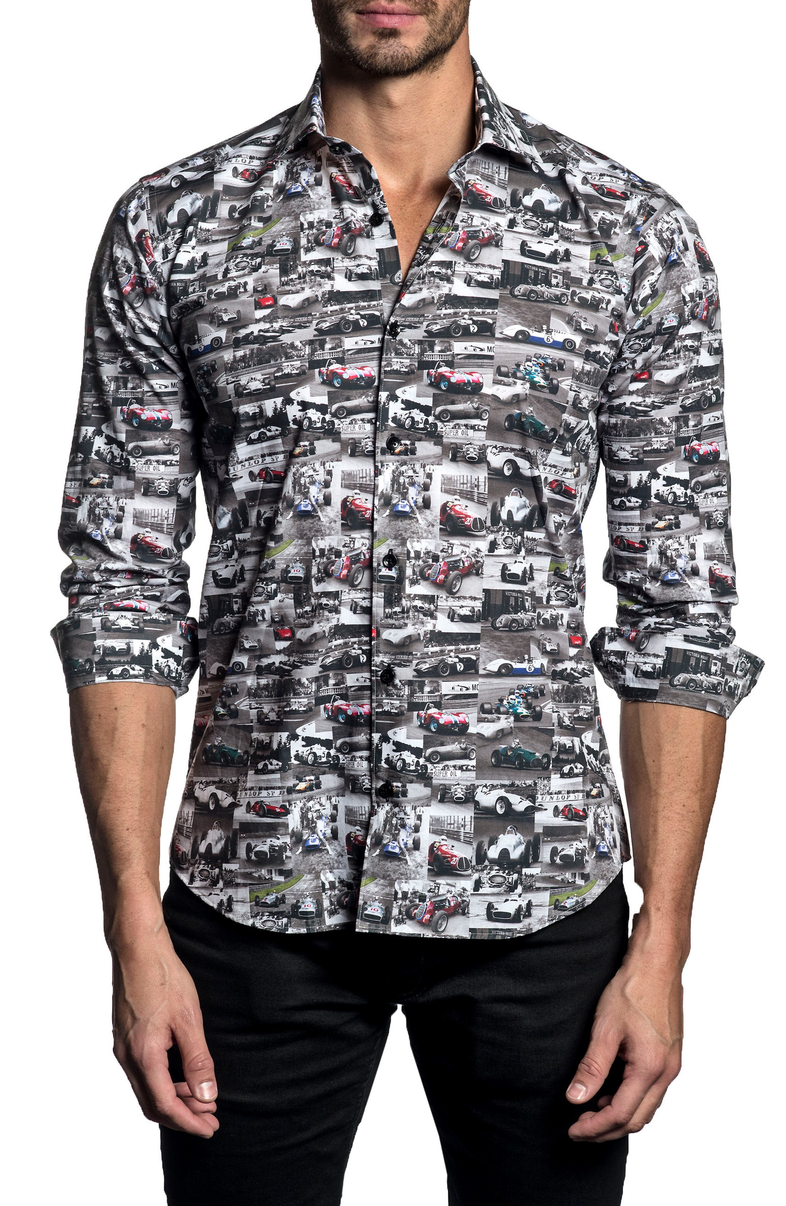 Trim Fit Car Print Sport Shirt,                             Main thumbnail 1, color,                             White/ Black Print