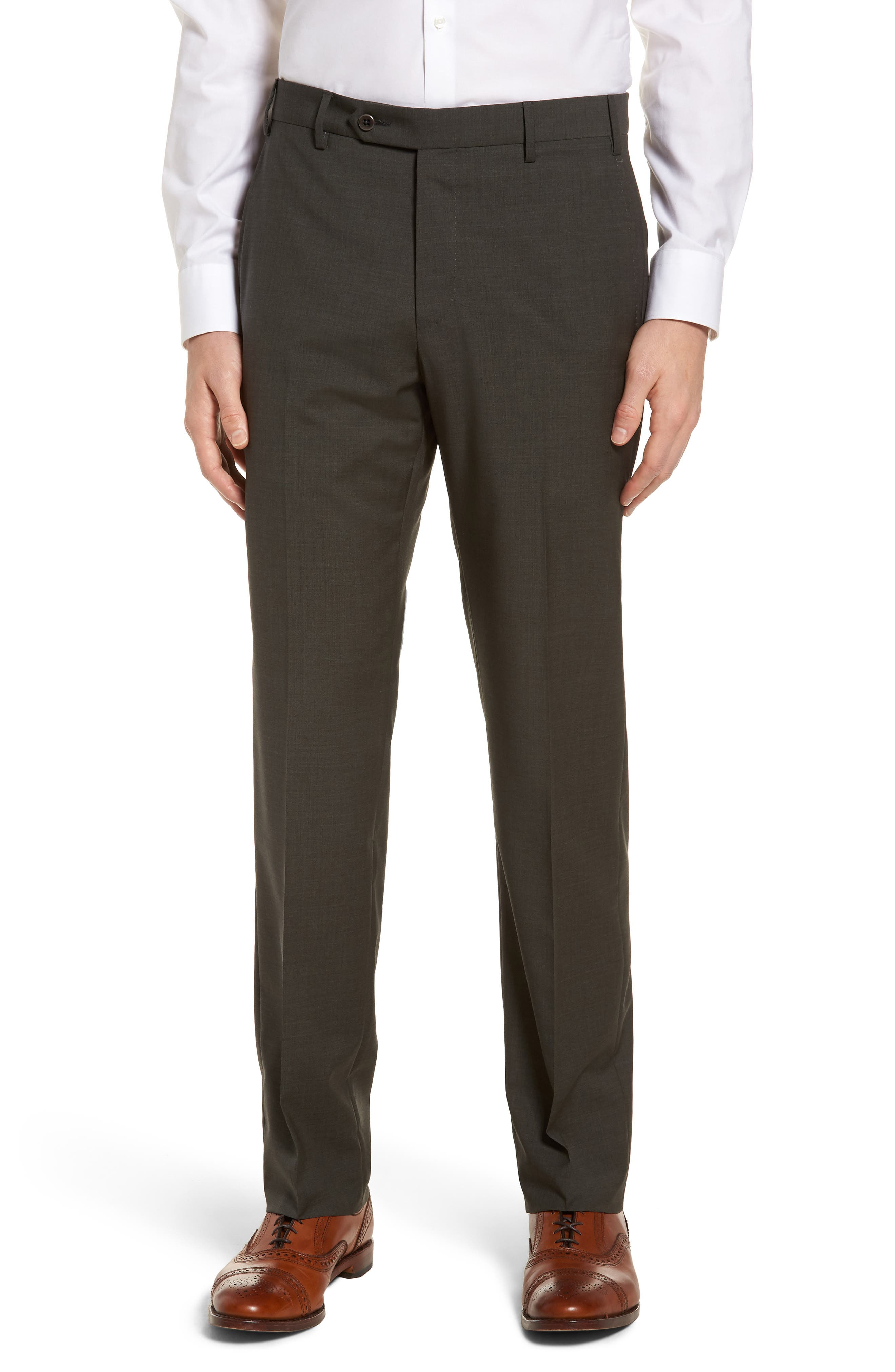 Devon Flat Front Solid Wool Trousers,                             Main thumbnail 1, color,                             Olive