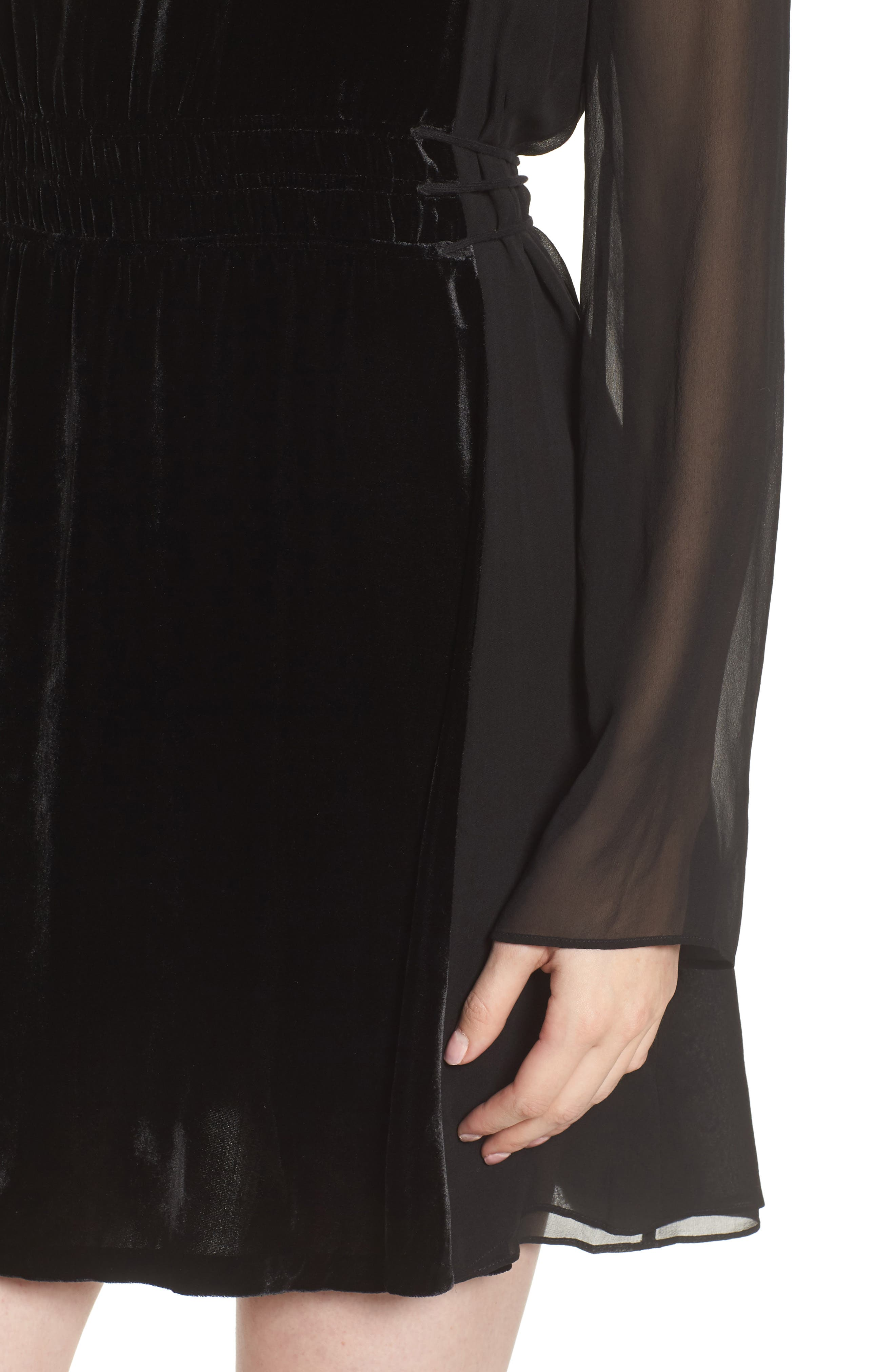 Her Story Velvet Dress,                             Alternate thumbnail 4, color,                             Black