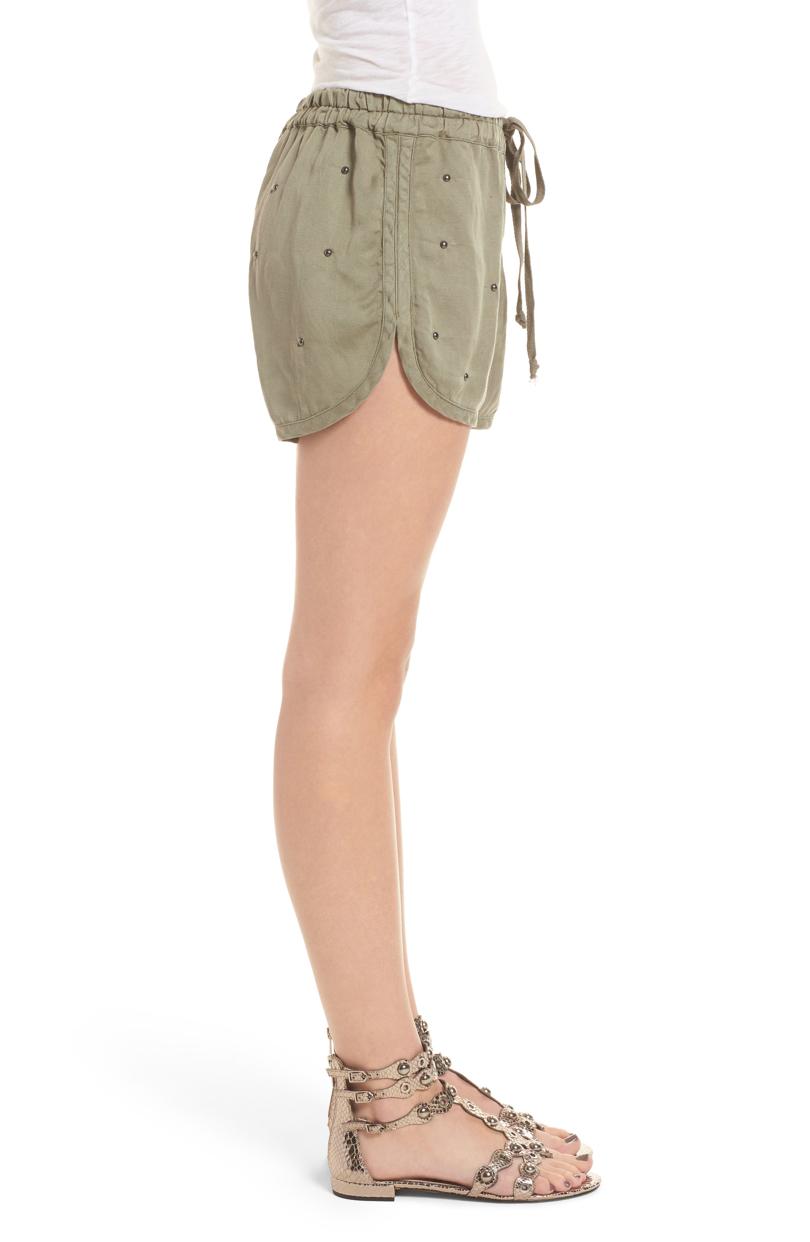 Thatcher Drawstring Shorts,                             Alternate thumbnail 3, color,                             Sage Studded