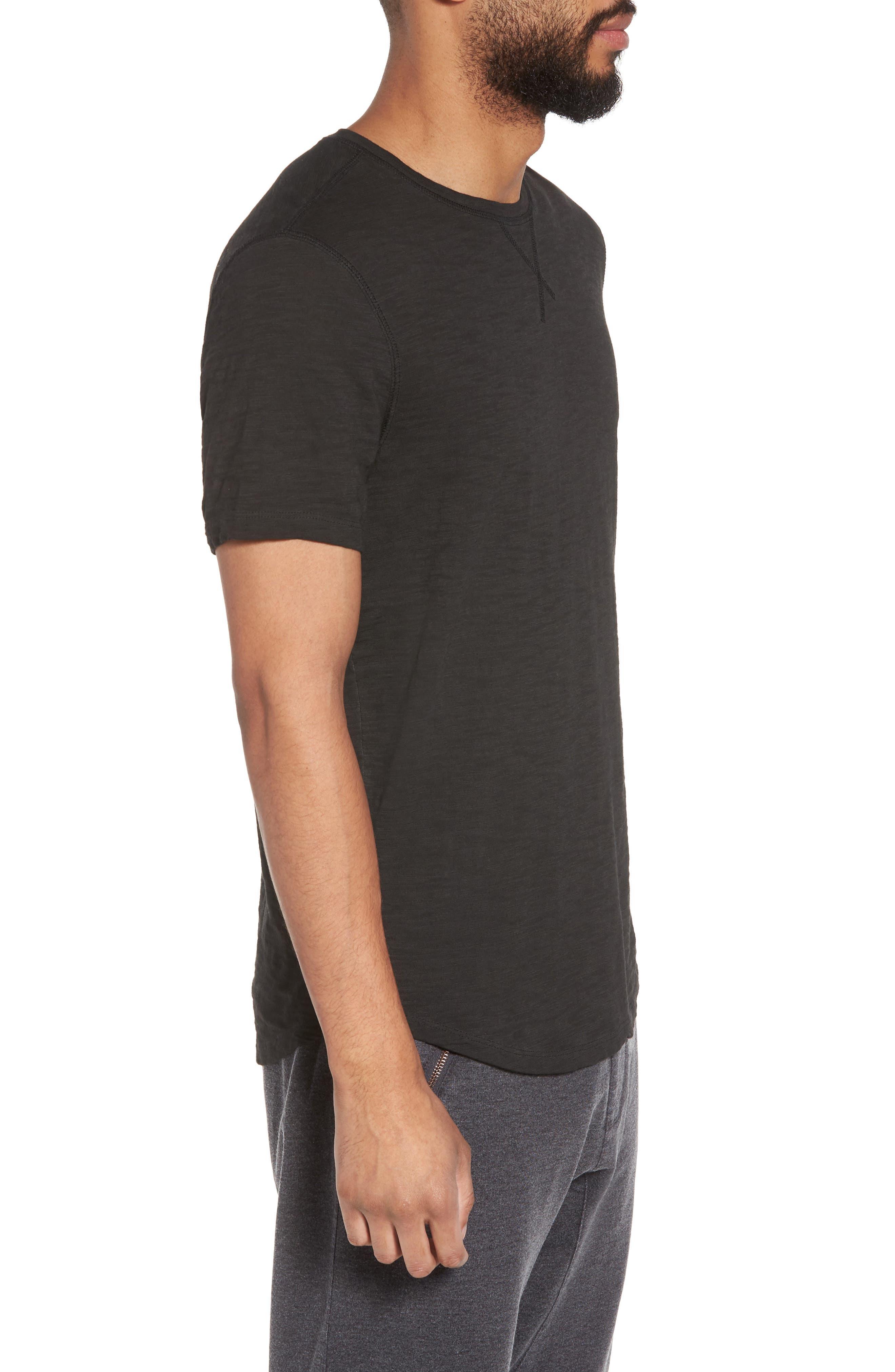 Slim Fit Slubbed T-Shirt,                             Alternate thumbnail 3, color,                             Black