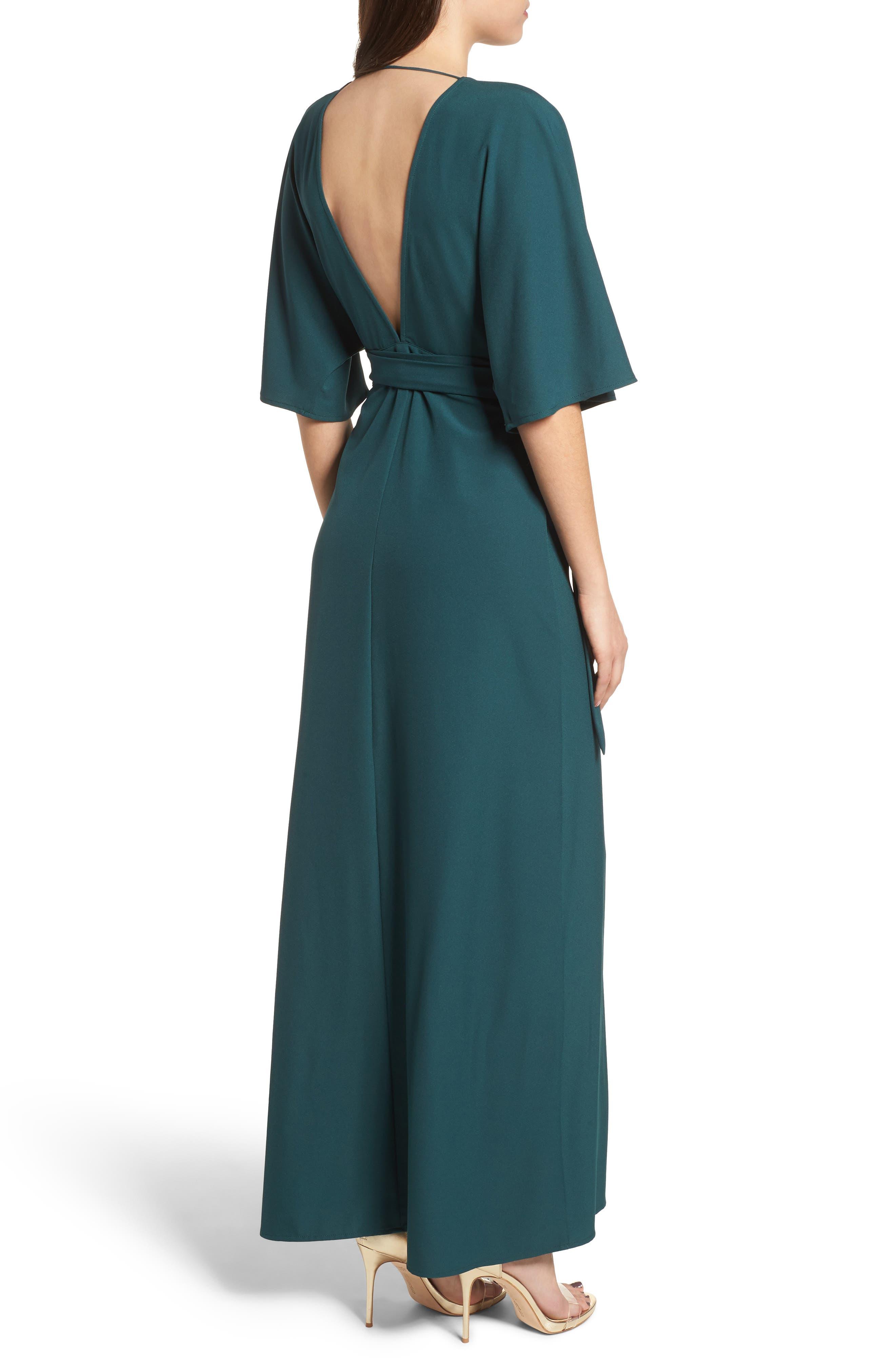 Kimono Maxi Dress,                             Alternate thumbnail 2, color,                             Green Bug