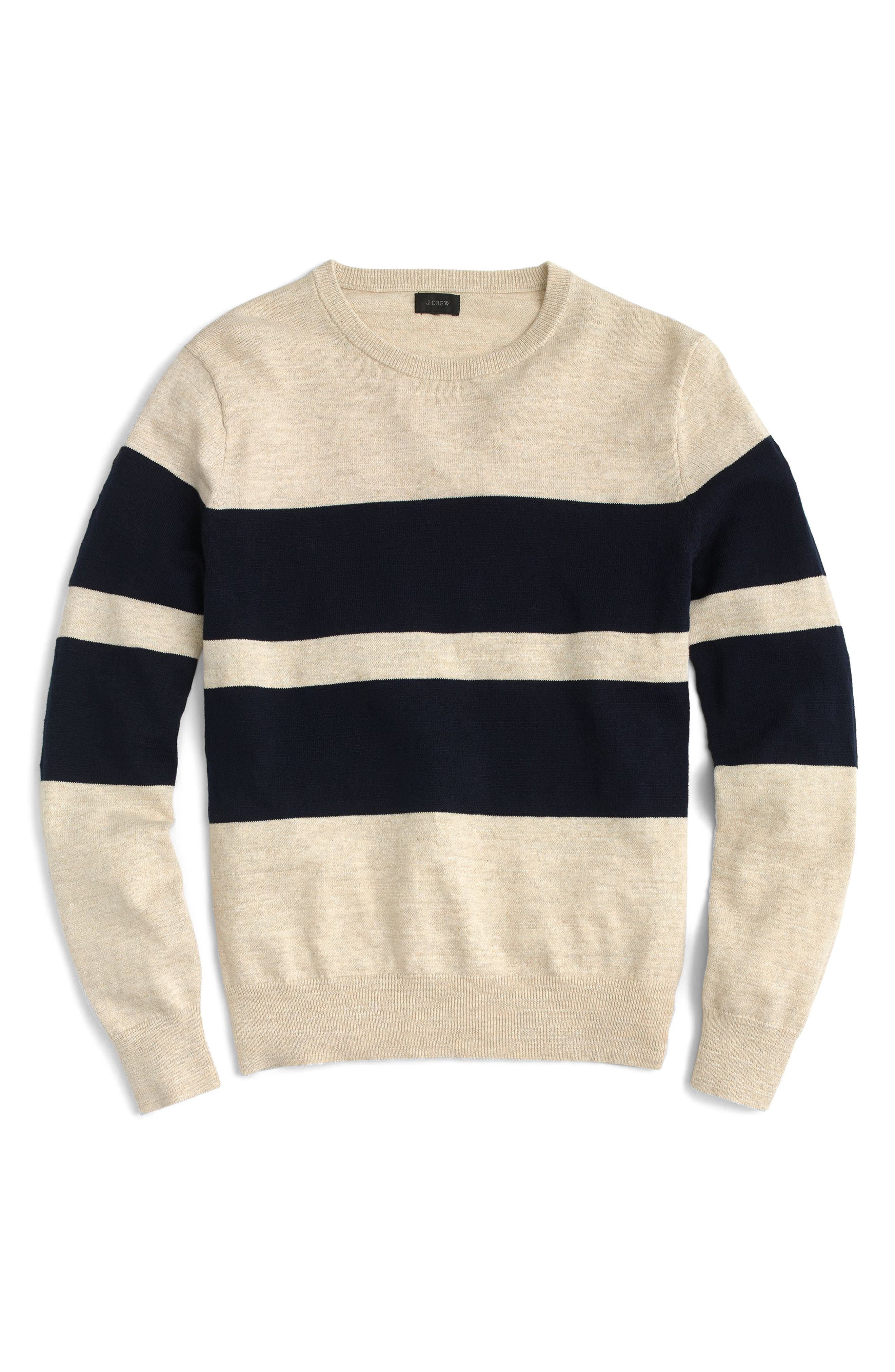 Slim Fit Uneven Budding Stripe Sweater,                             Main thumbnail 1, color,                             Navy