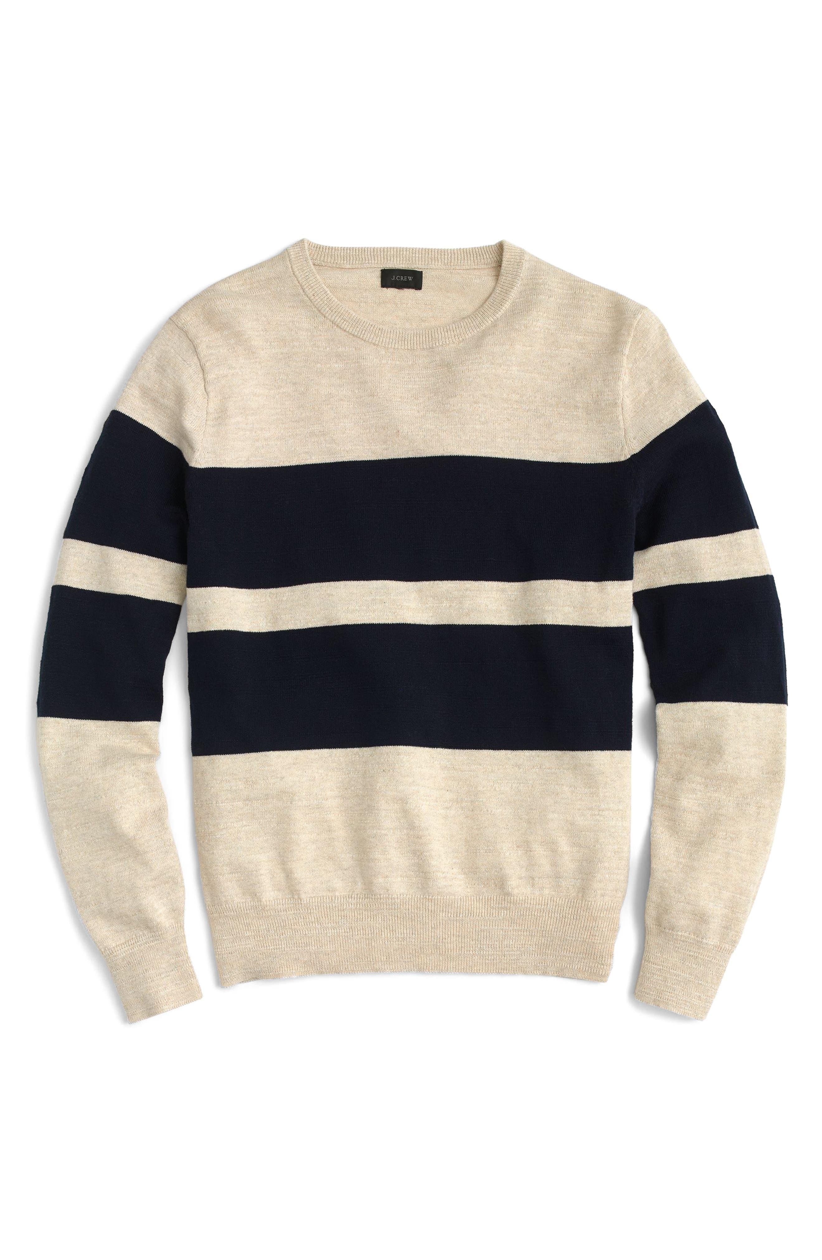J.Crew Slim Fit Uneven Budding Stripe Sweater,                             Main thumbnail 1, color,                             Navy
