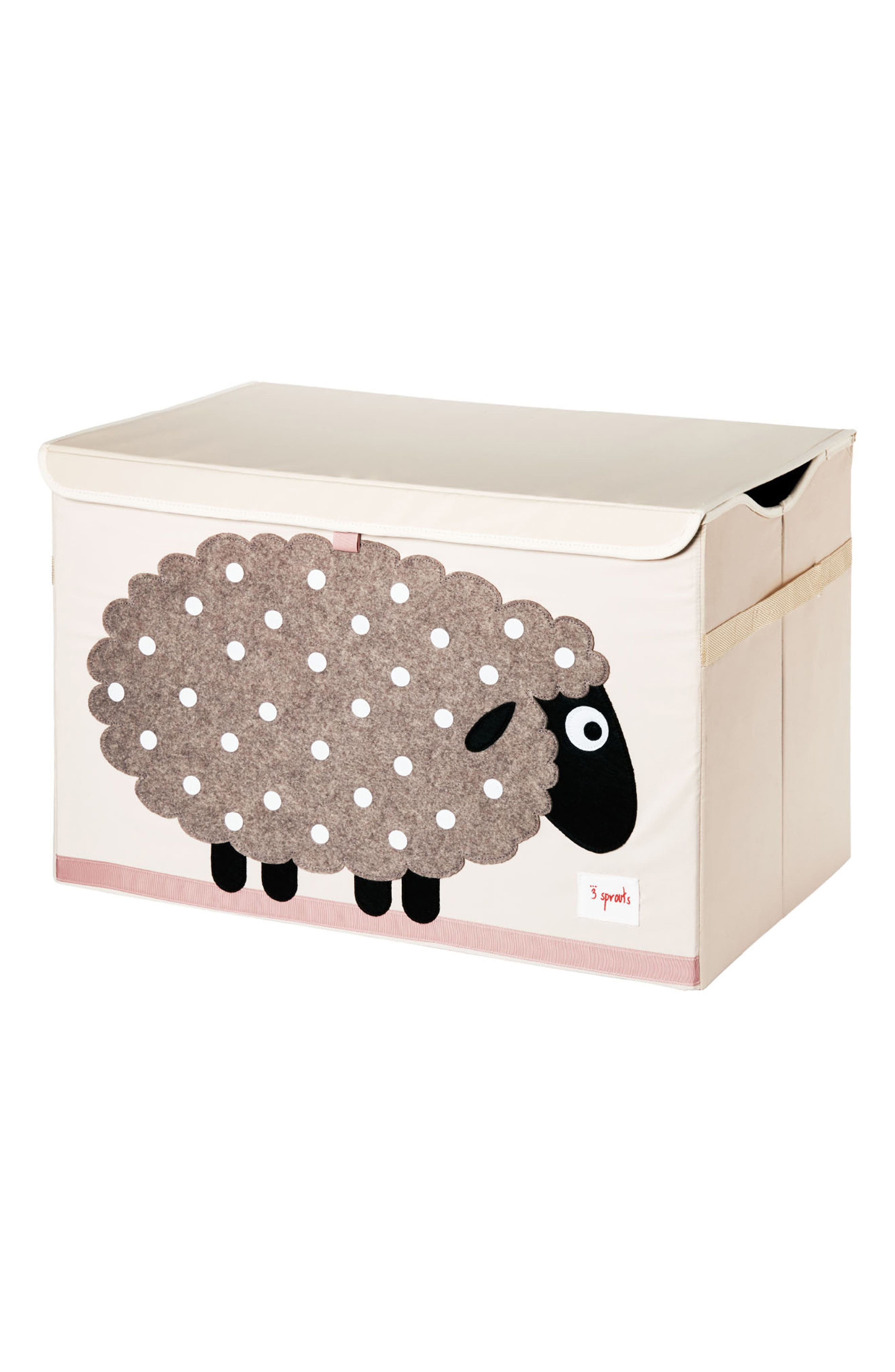Sheep Toy Chest,                         Main,                         color, Beige