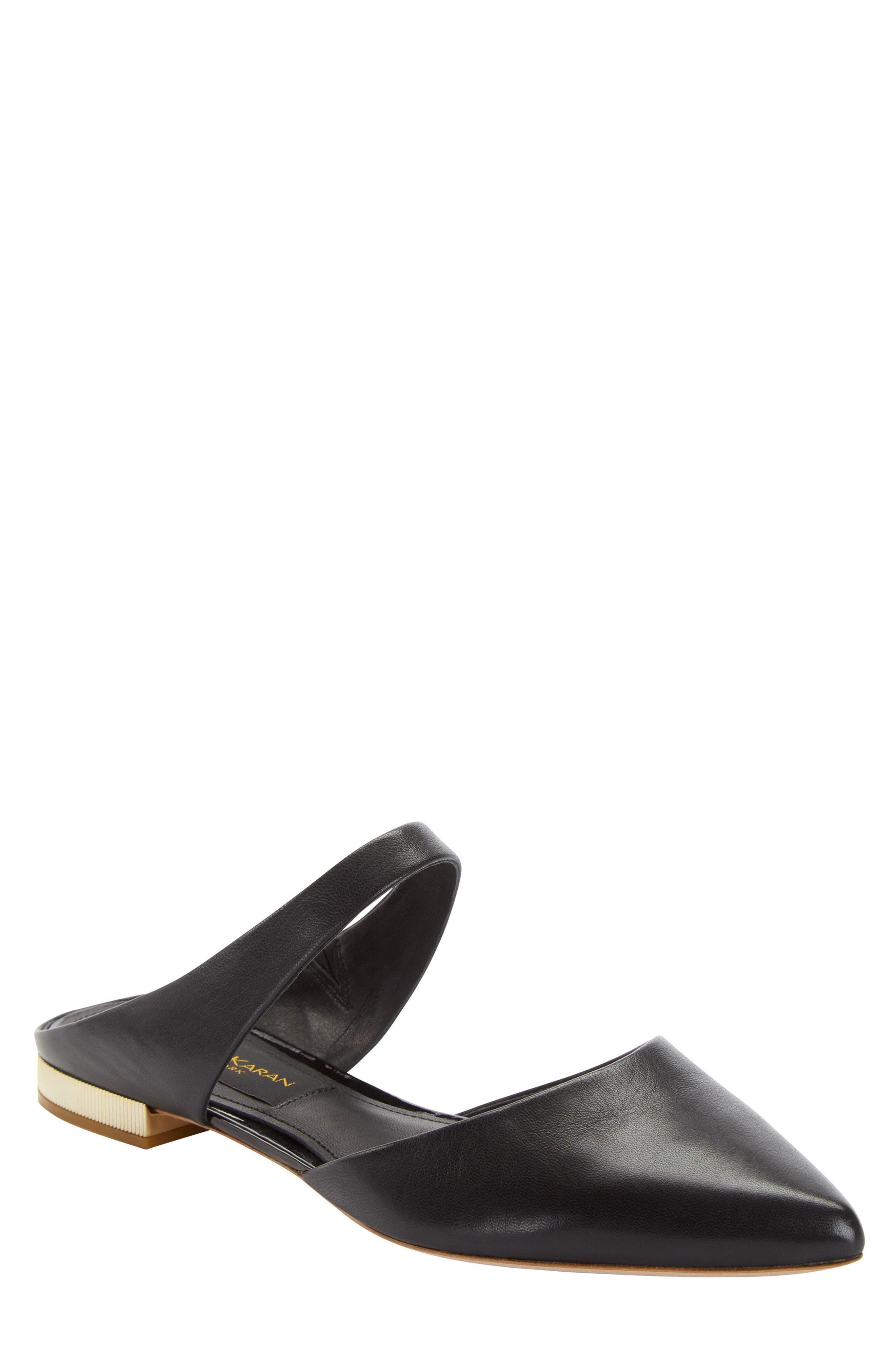 Donna Karan Paris Pointy Toe Mule,                             Main thumbnail 1, color,                             Black Leather