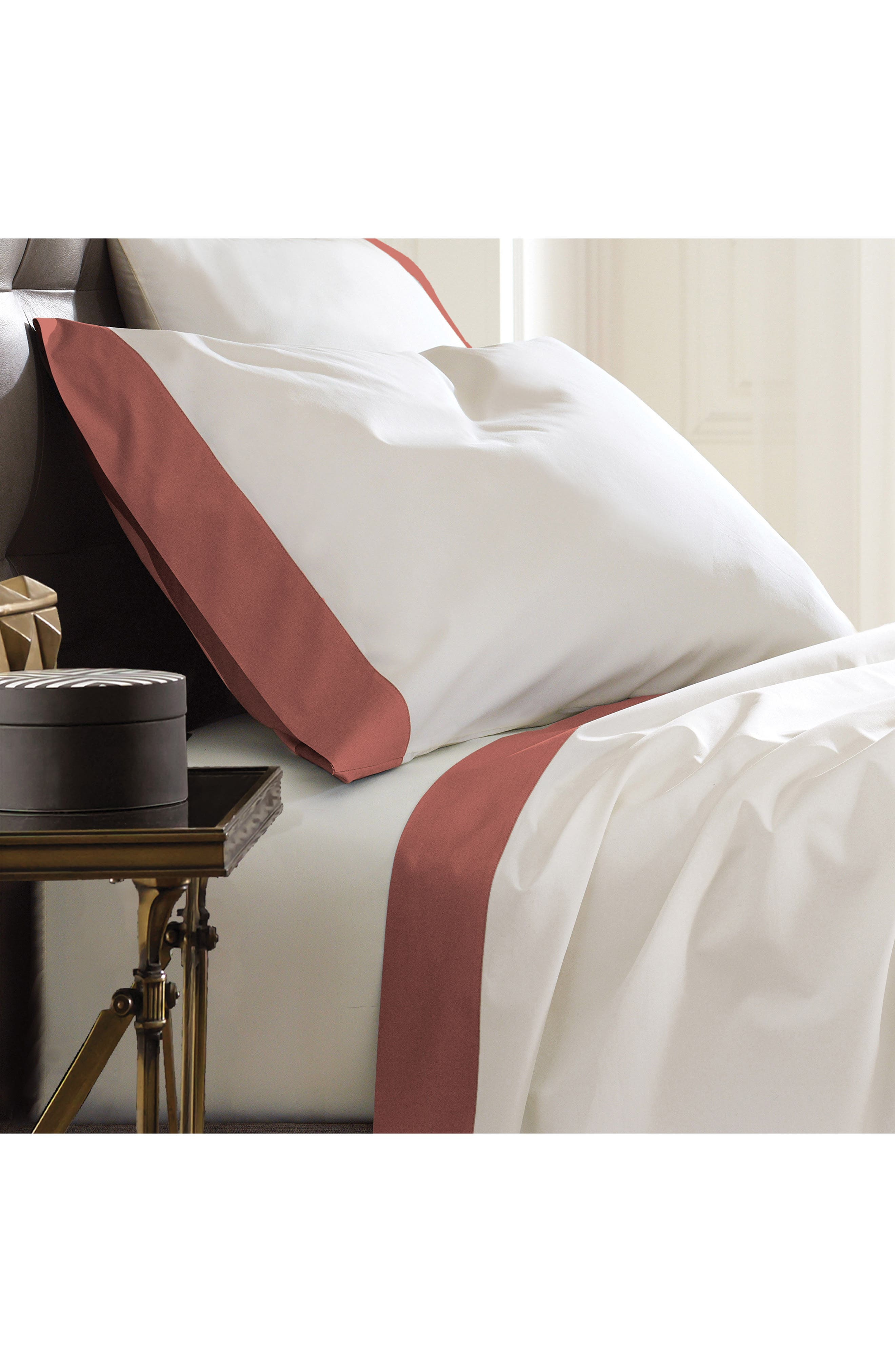 Modern Border 400 Thread Count Pair of Pillowcases,                             Alternate thumbnail 3, color,                             Ginger/ Red