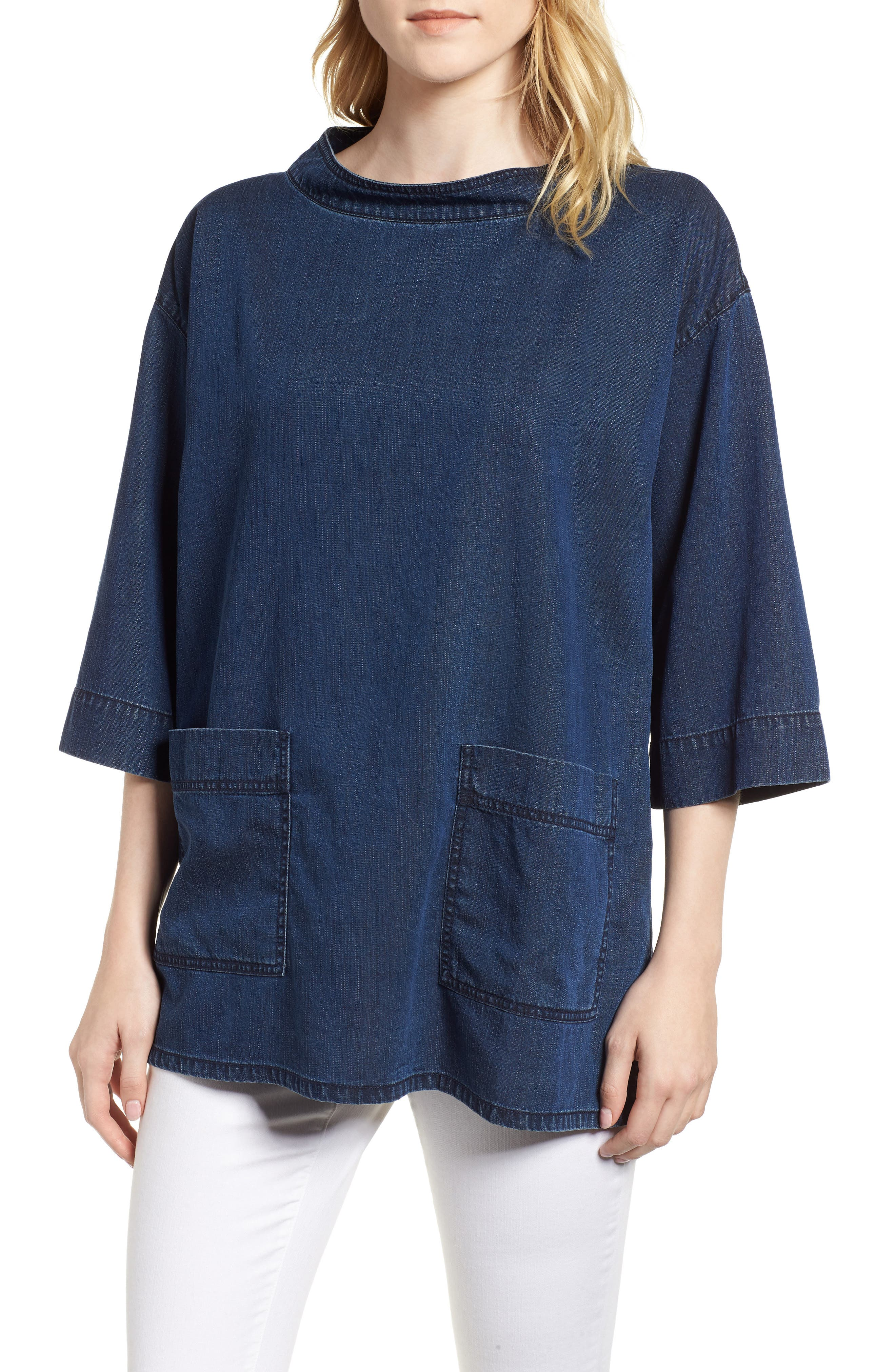 Boxy Soft Cotton Top,                         Main,                         color, Midnight