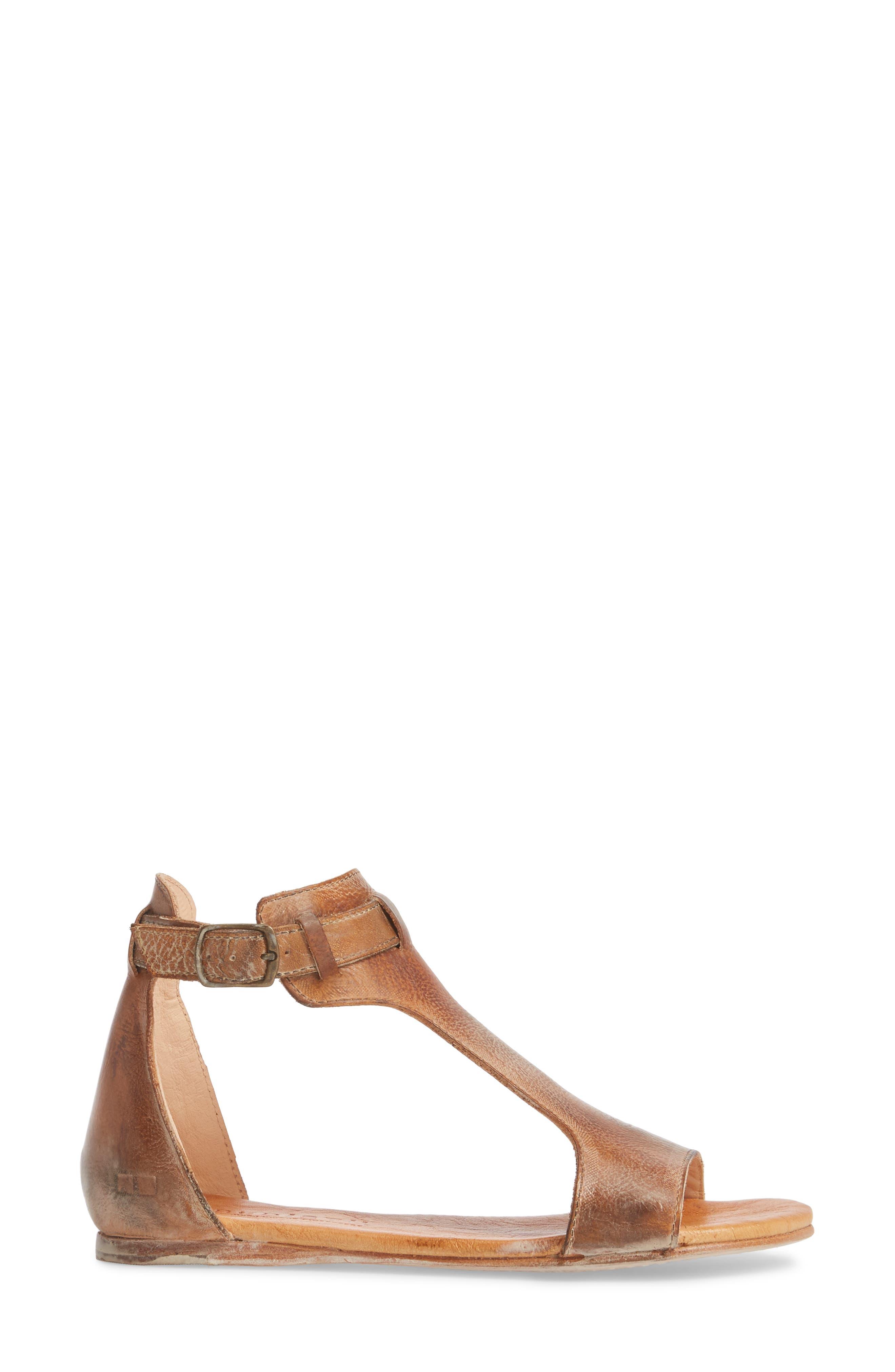 Sable Sandal,                             Alternate thumbnail 3, color,                             Tan/ White Leather