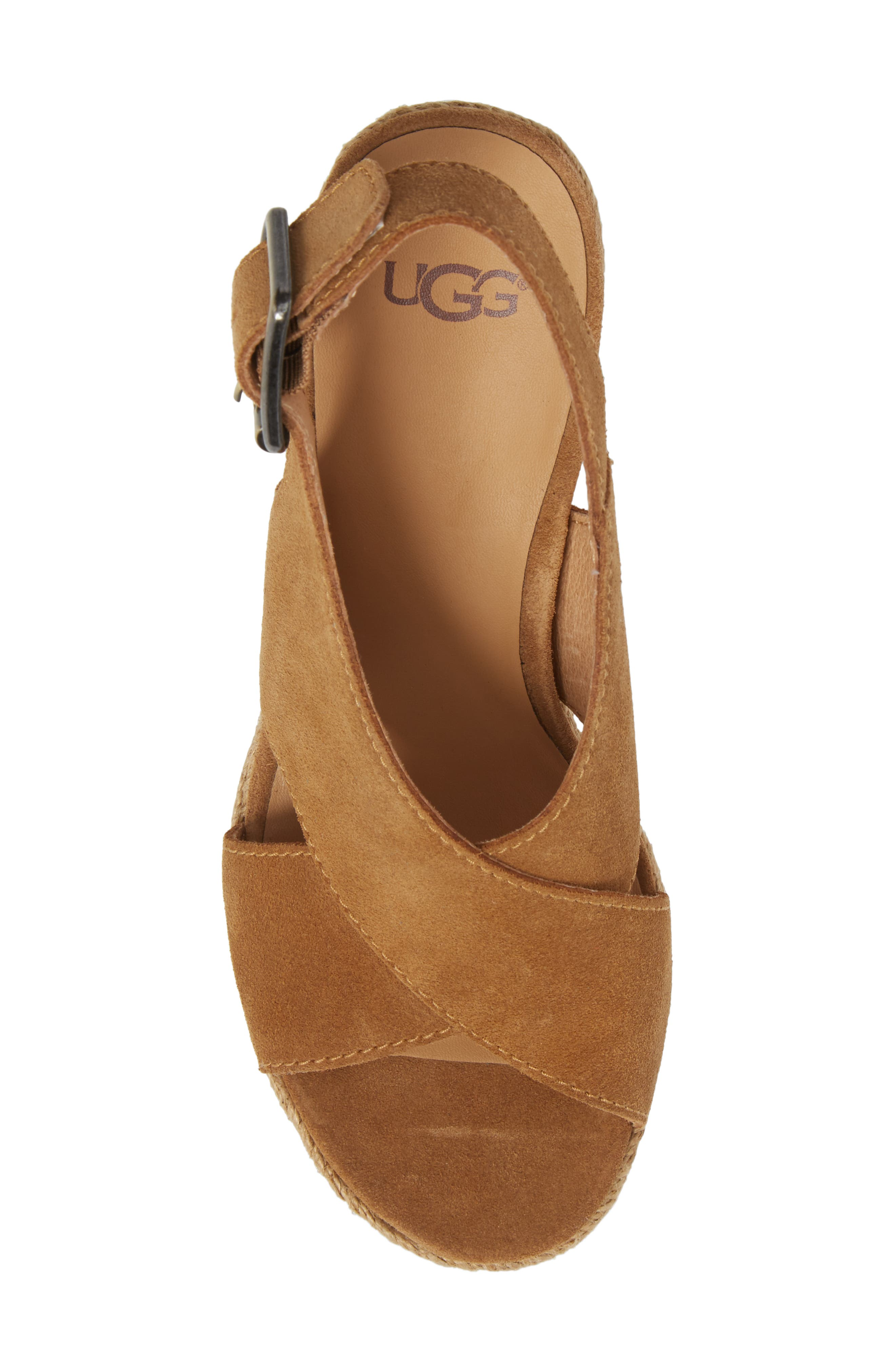 Harlow Platform Wedge Sandal,                             Alternate thumbnail 5, color,                             Chestnut Suede