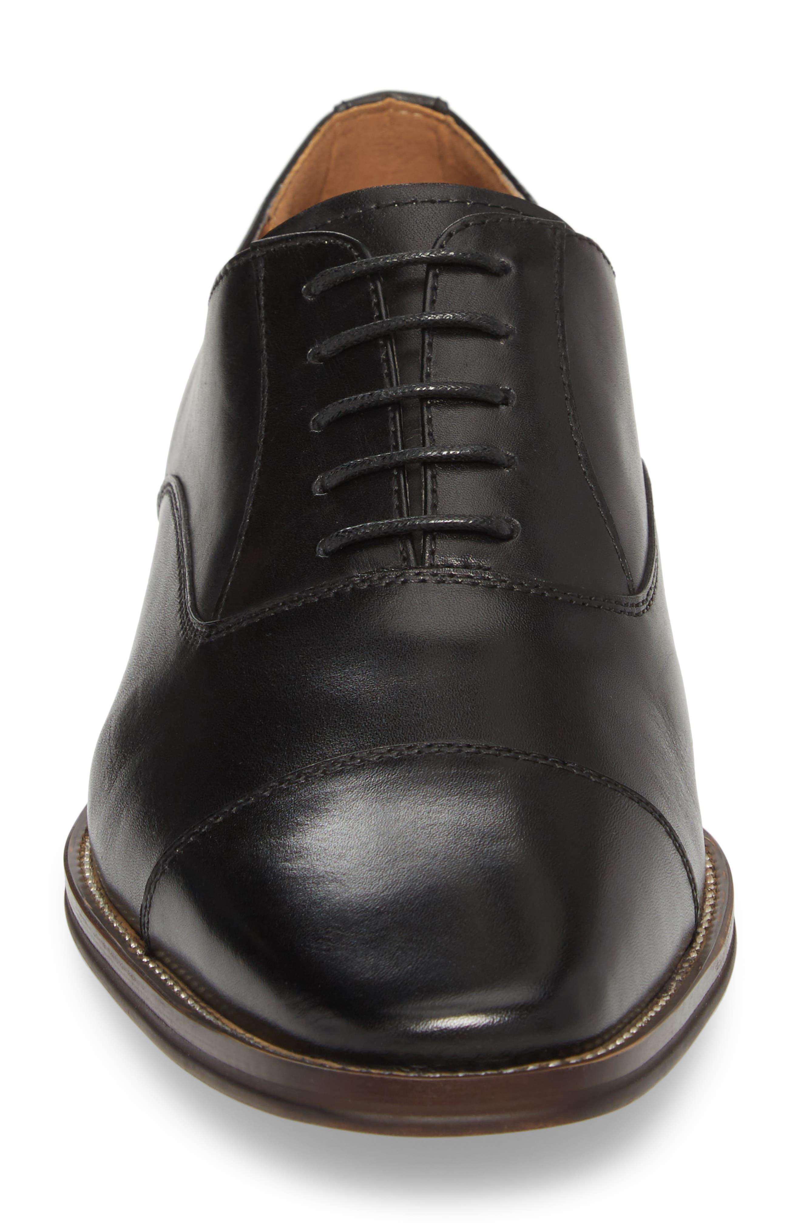 Tucson Cap Toe Derby,                             Alternate thumbnail 4, color,                             Black Leather