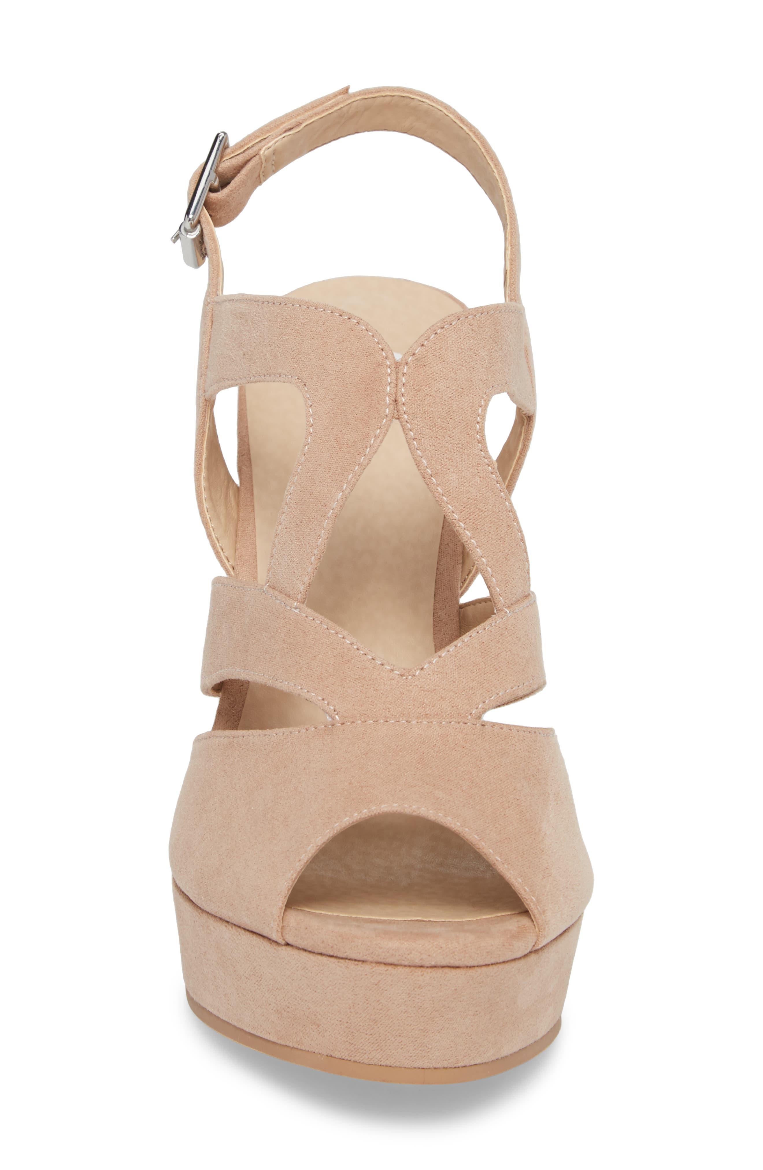 Sunny Platform Wedge Sandal,                             Alternate thumbnail 4, color,                             Nude Faux Suede