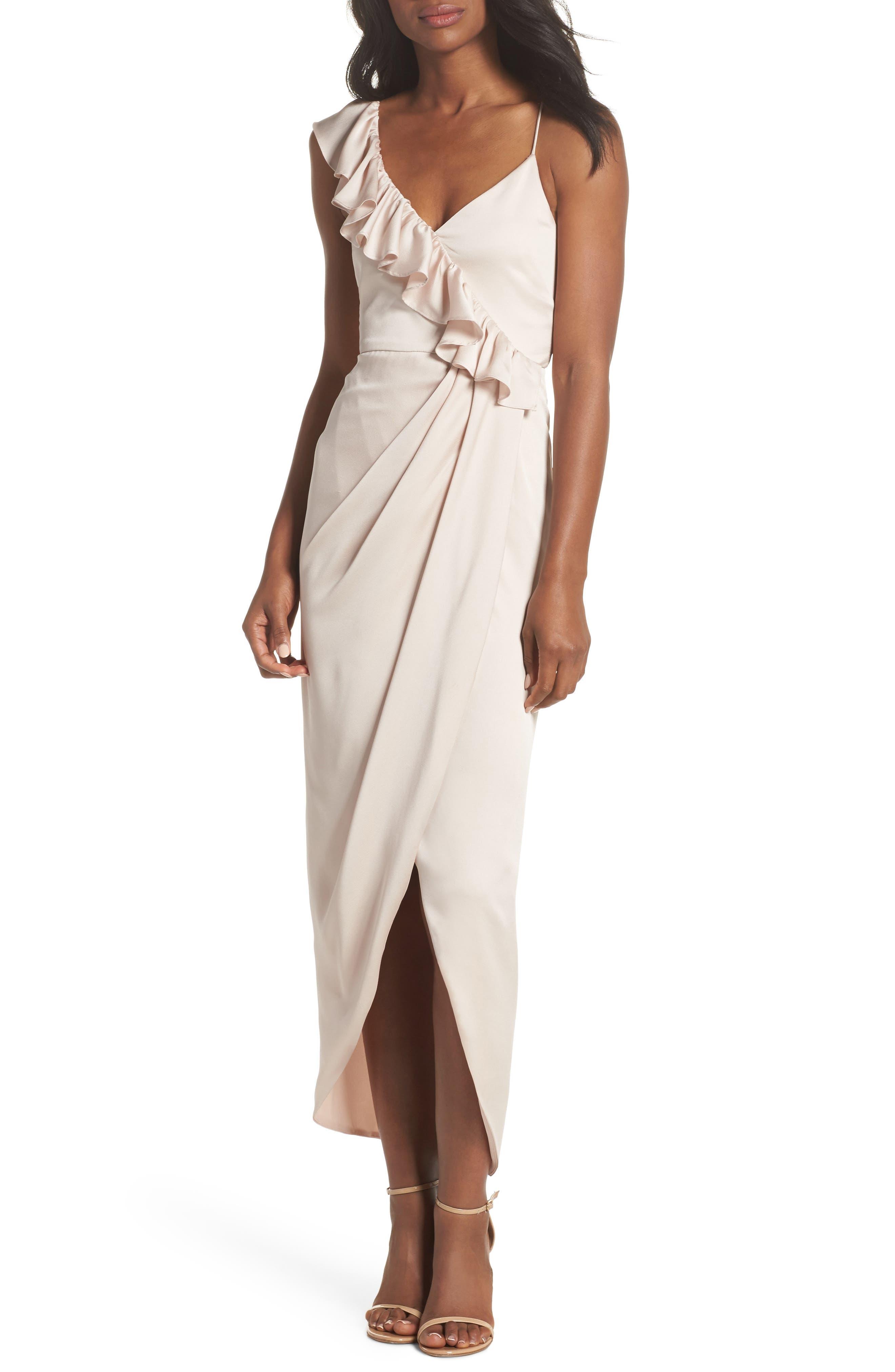 Luxe Asymmetrical Frill Maxi Dress,                         Main,                         color, Porcelain