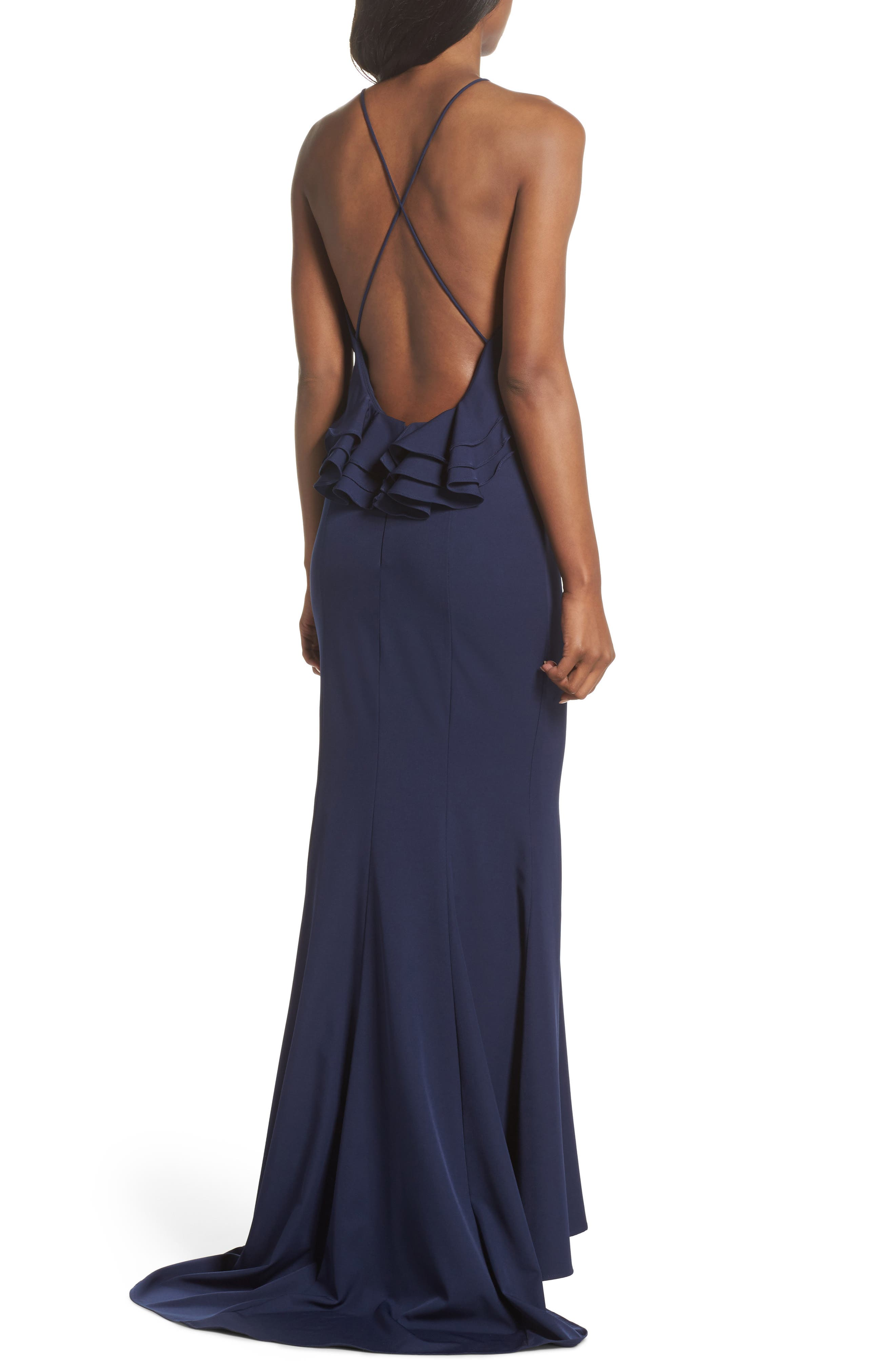 Zoe Ruffle Back Gown,                             Alternate thumbnail 2, color,                             Navy