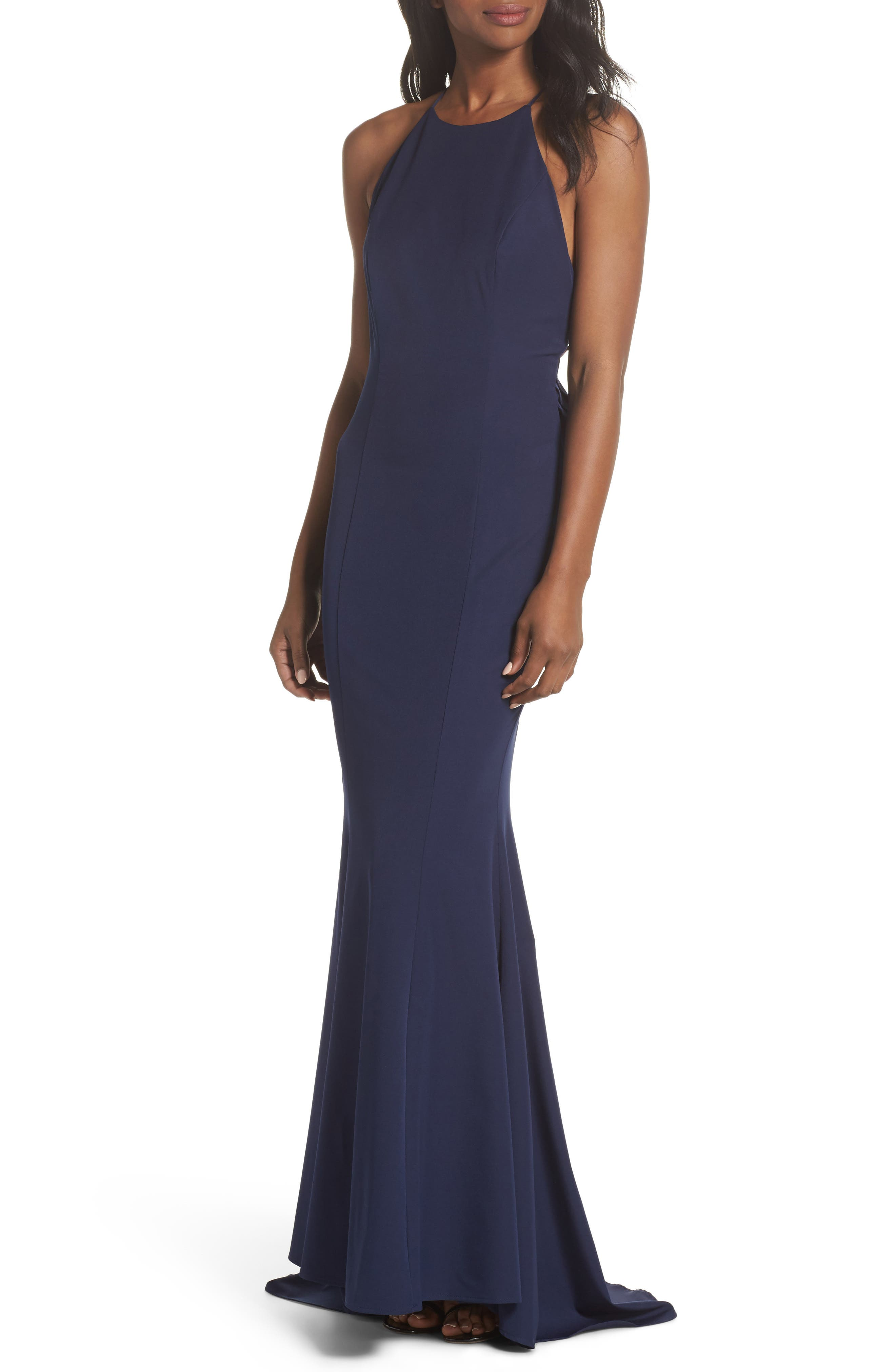 Zoe Ruffle Back Gown,                         Main,                         color, Navy