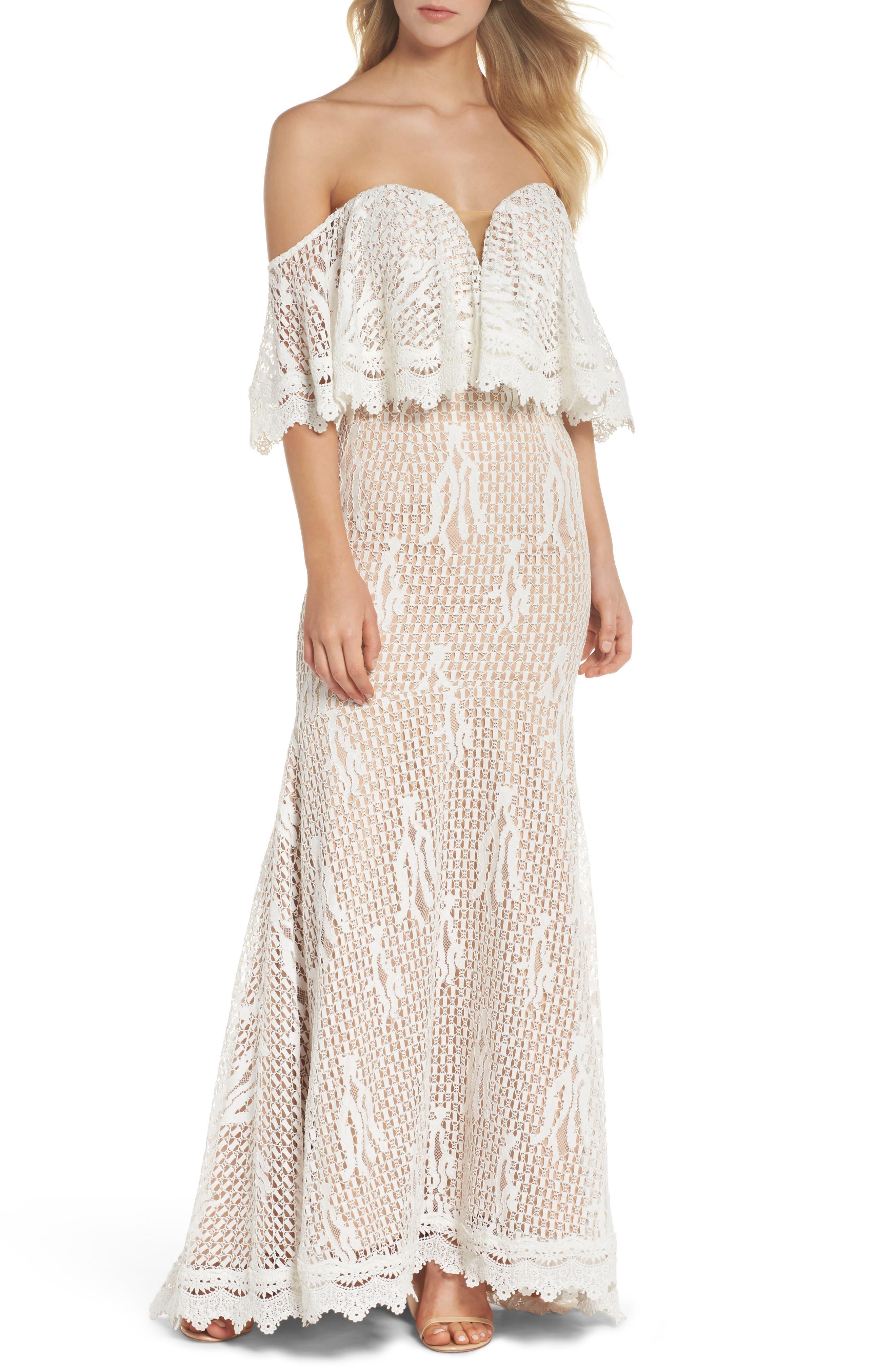 Davilea Off the Shoulder Lace Gown,                             Main thumbnail 1, color,                             Ivory