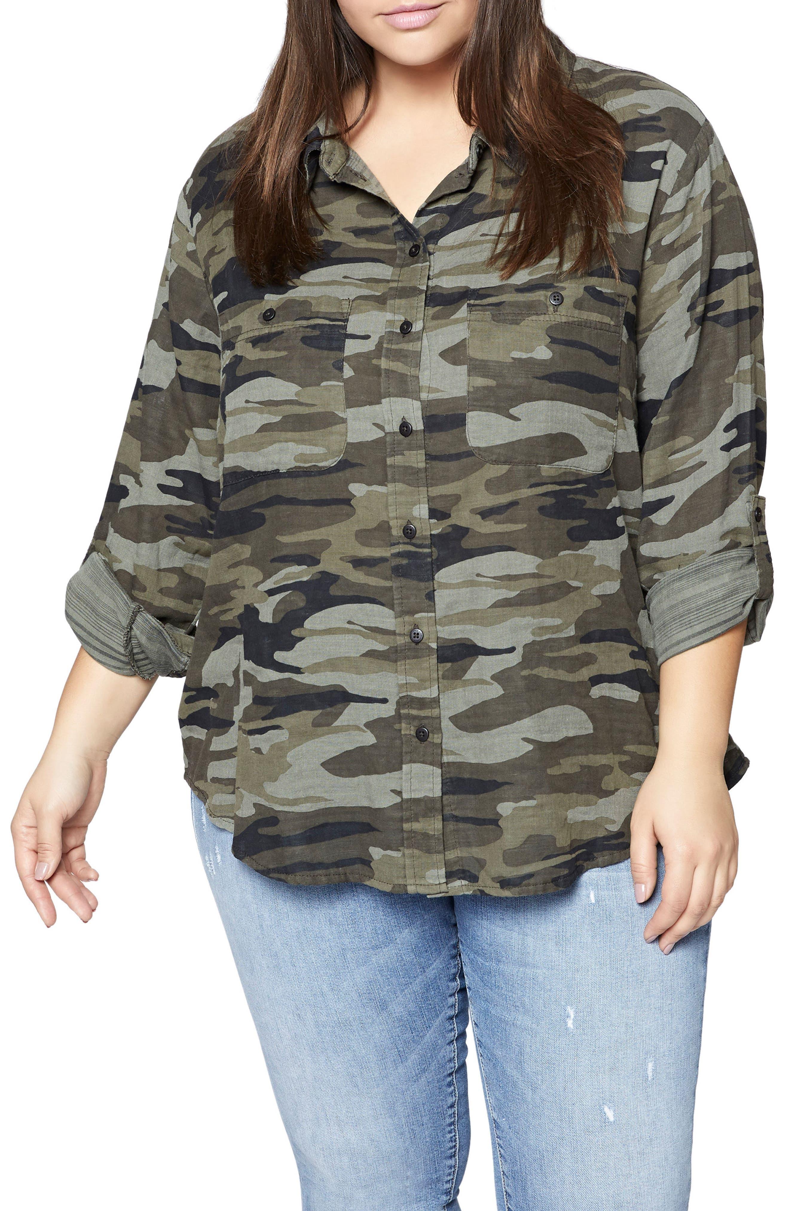 Steady Boyfriend Camo Shirt,                         Main,                         color, Garden Camo
