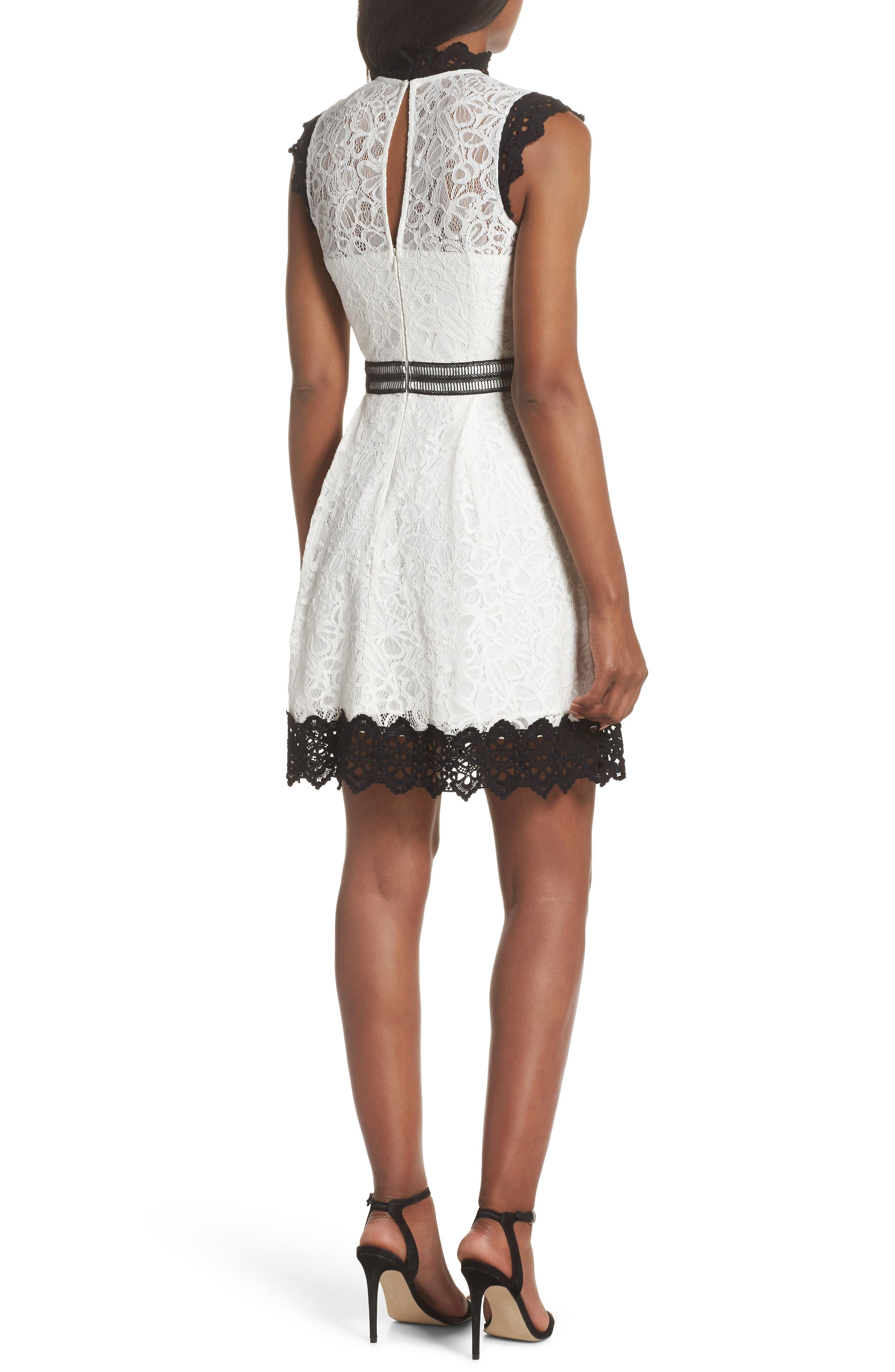Hilda Fit & Flare Dress,                             Alternate thumbnail 2, color,                             White/ Black