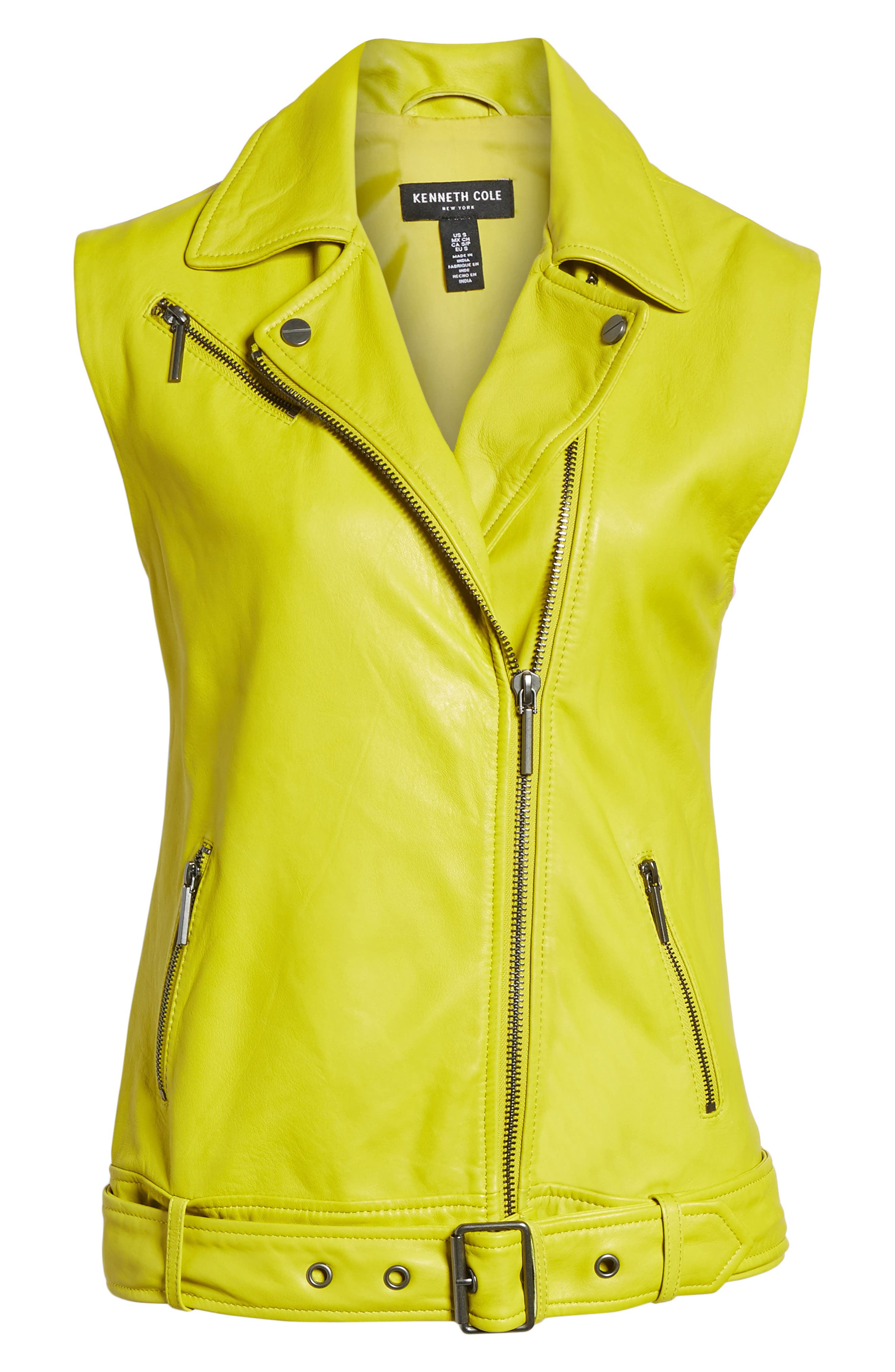 Washed Green Leather Moto Vest,                             Alternate thumbnail 6, color,                             Canary