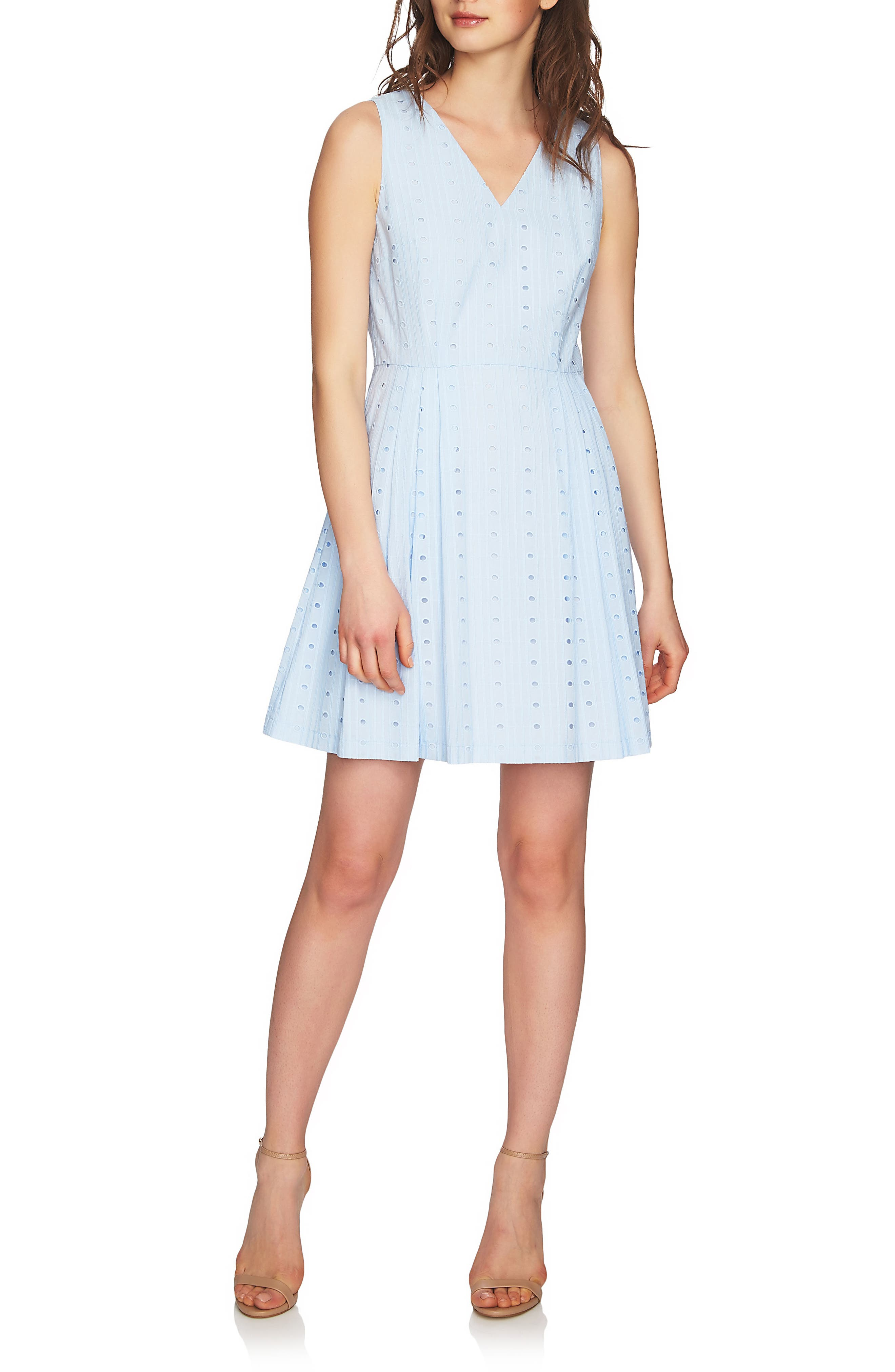 Clairborne Eyelet Fit & Flare Dress,                             Main thumbnail 1, color,                             Bluebird