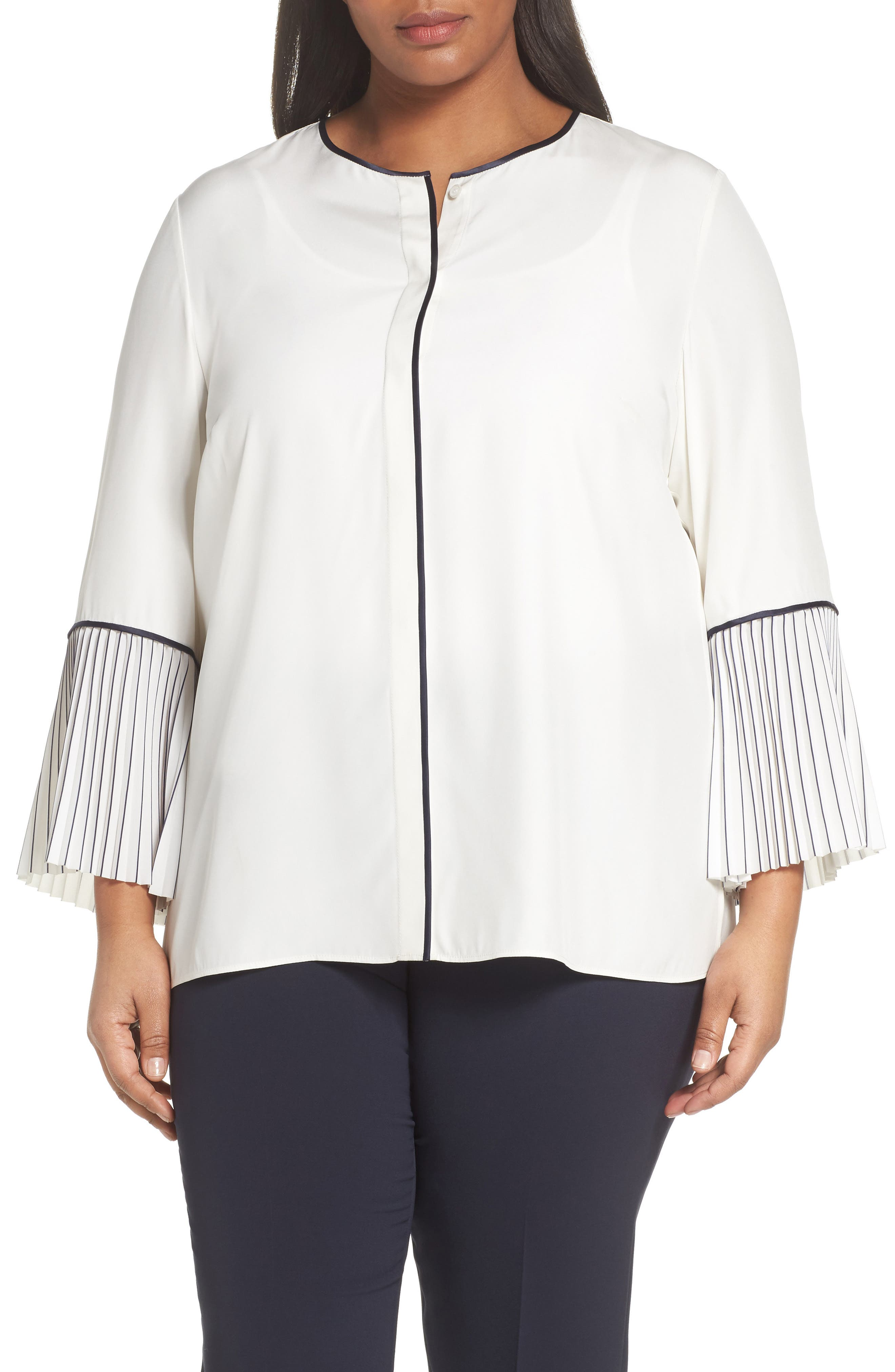 Lafayette 148 Nemy Pleated Bell Sleeve Silk Blouse,                             Main thumbnail 1, color,                             Cloud