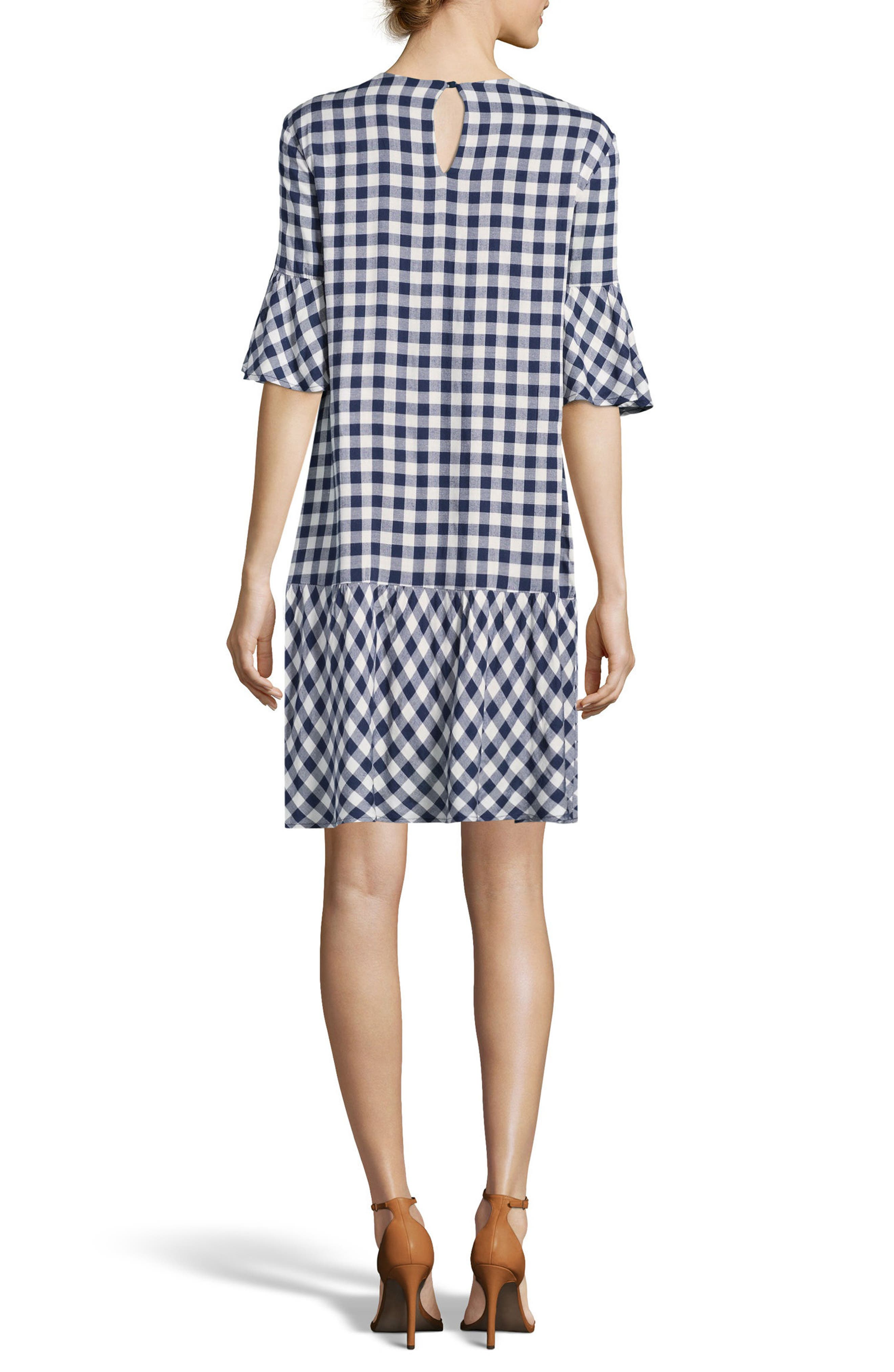 Embroidered Checker Shift Dress,                             Alternate thumbnail 2, color,                             Navy/ White