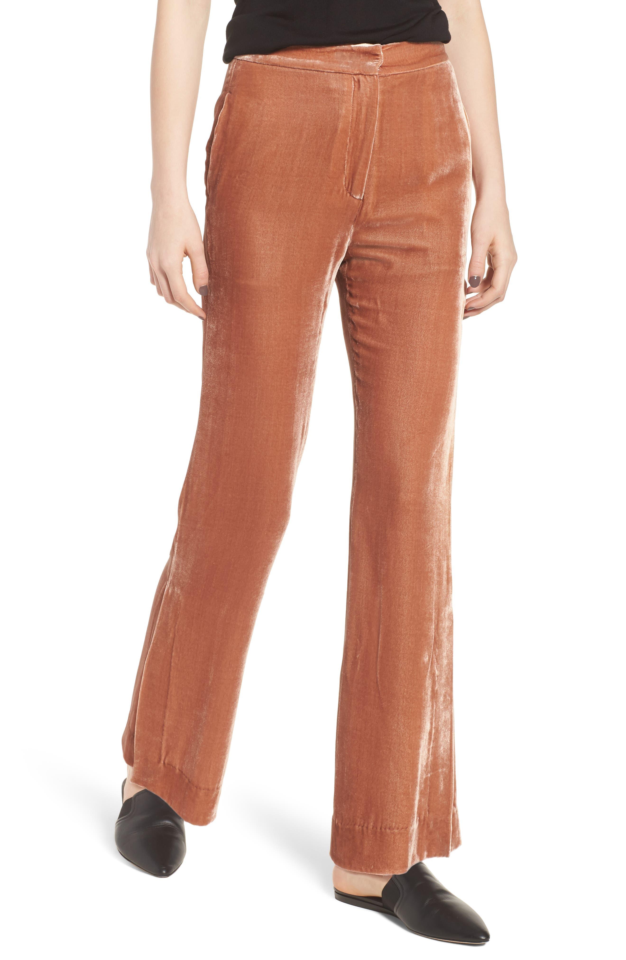 Bushwick Velvet Pants,                         Main,                         color, Brown