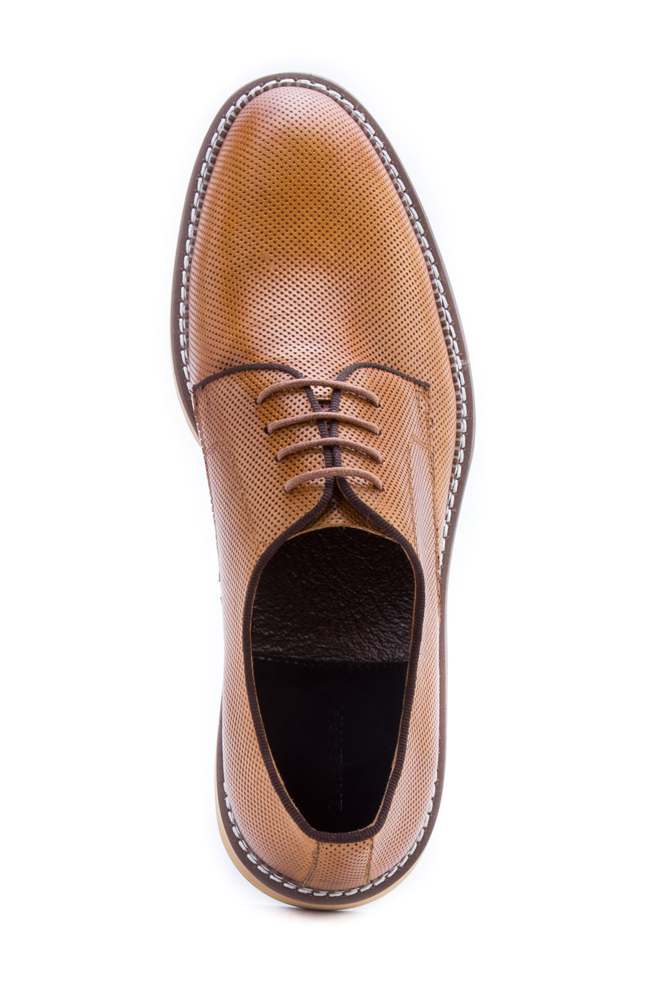 Monticello Perforated Plain Toe Derby,                             Alternate thumbnail 5, color,                             Cognac Leather