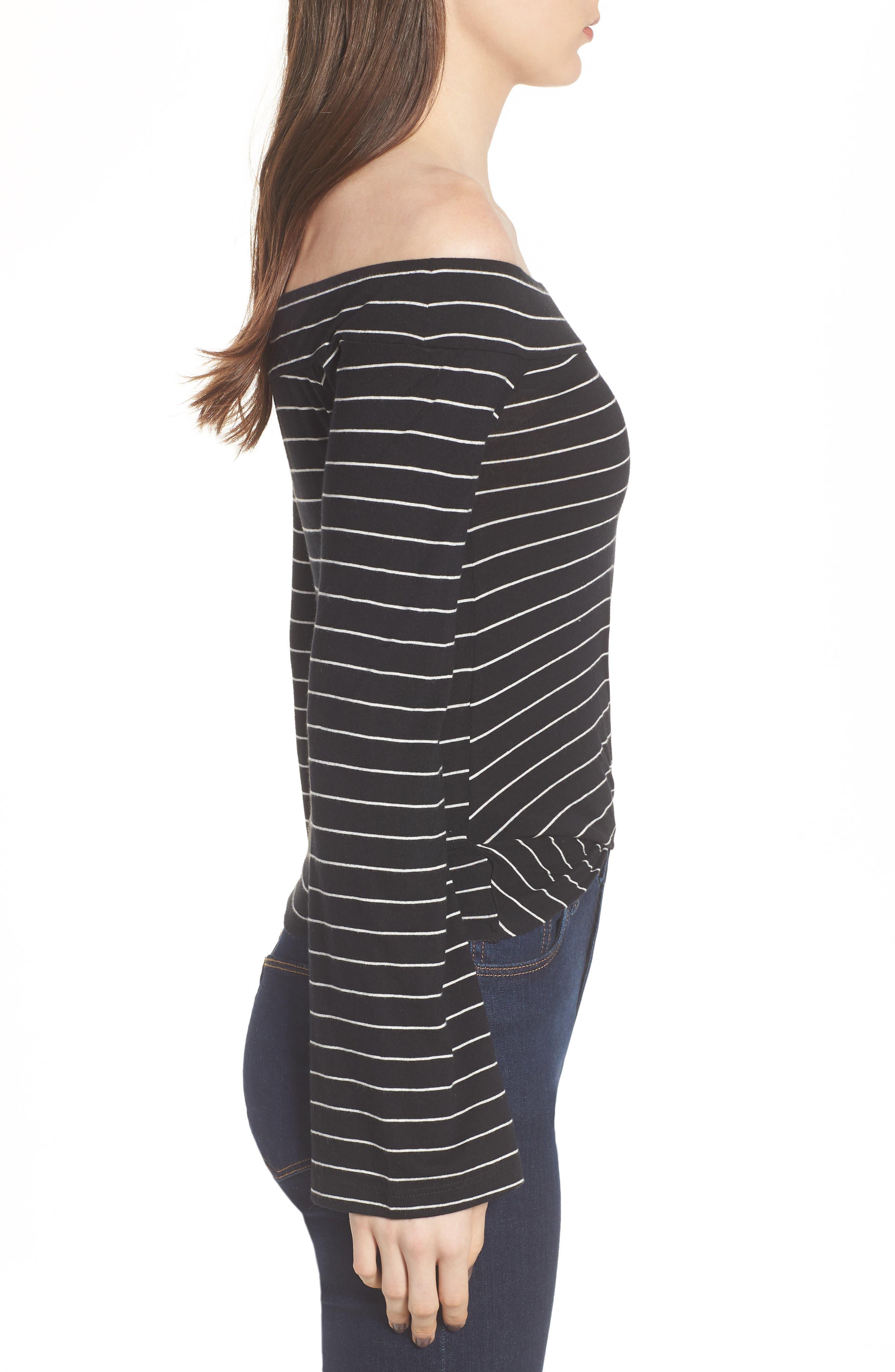 Stripe Twist Front Off the Shoulder Top,                             Alternate thumbnail 3, color,                             Black Jess Strp