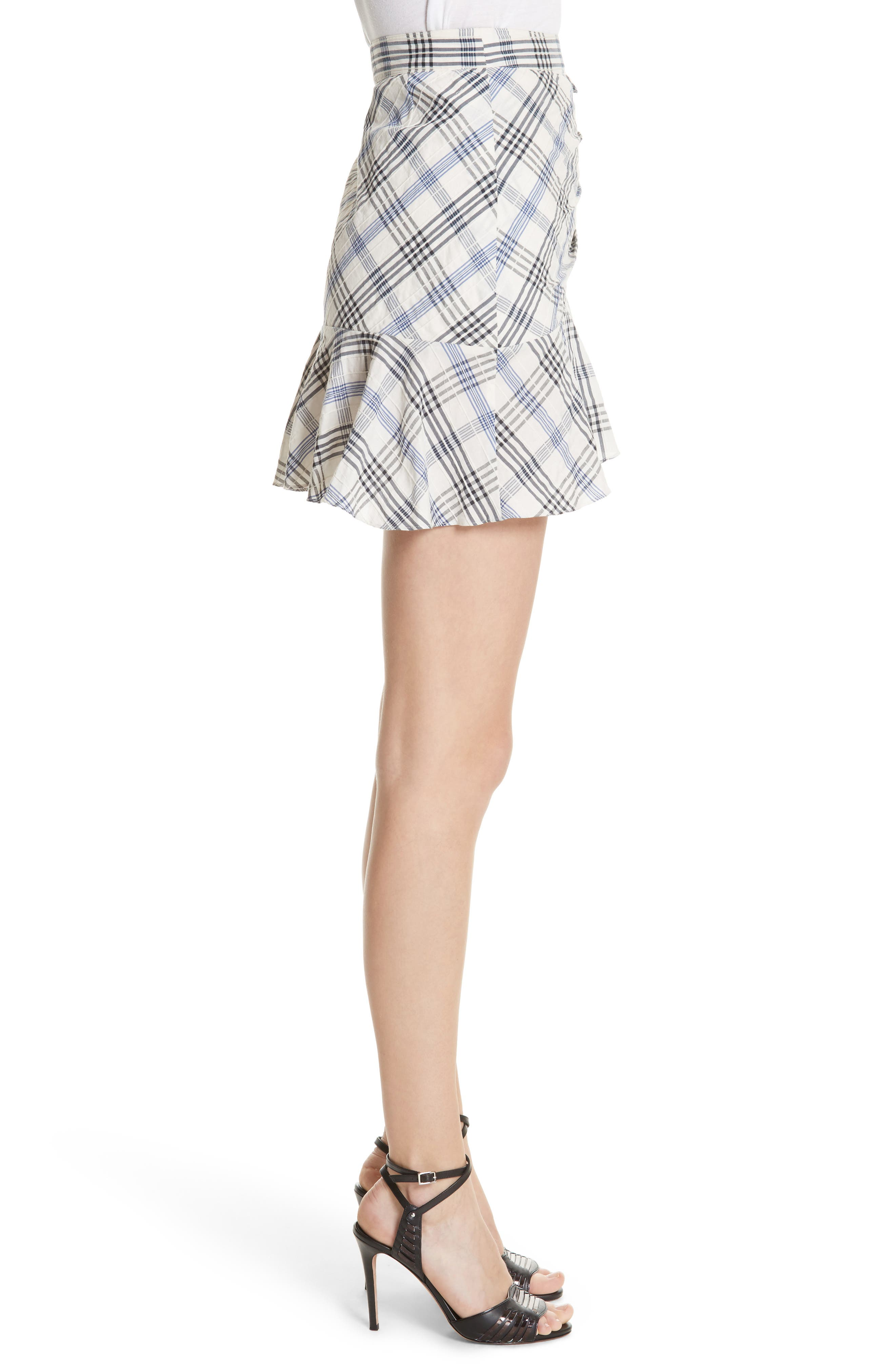 Kaia Check Ruffle Skirt,                             Alternate thumbnail 3, color,                             Blue