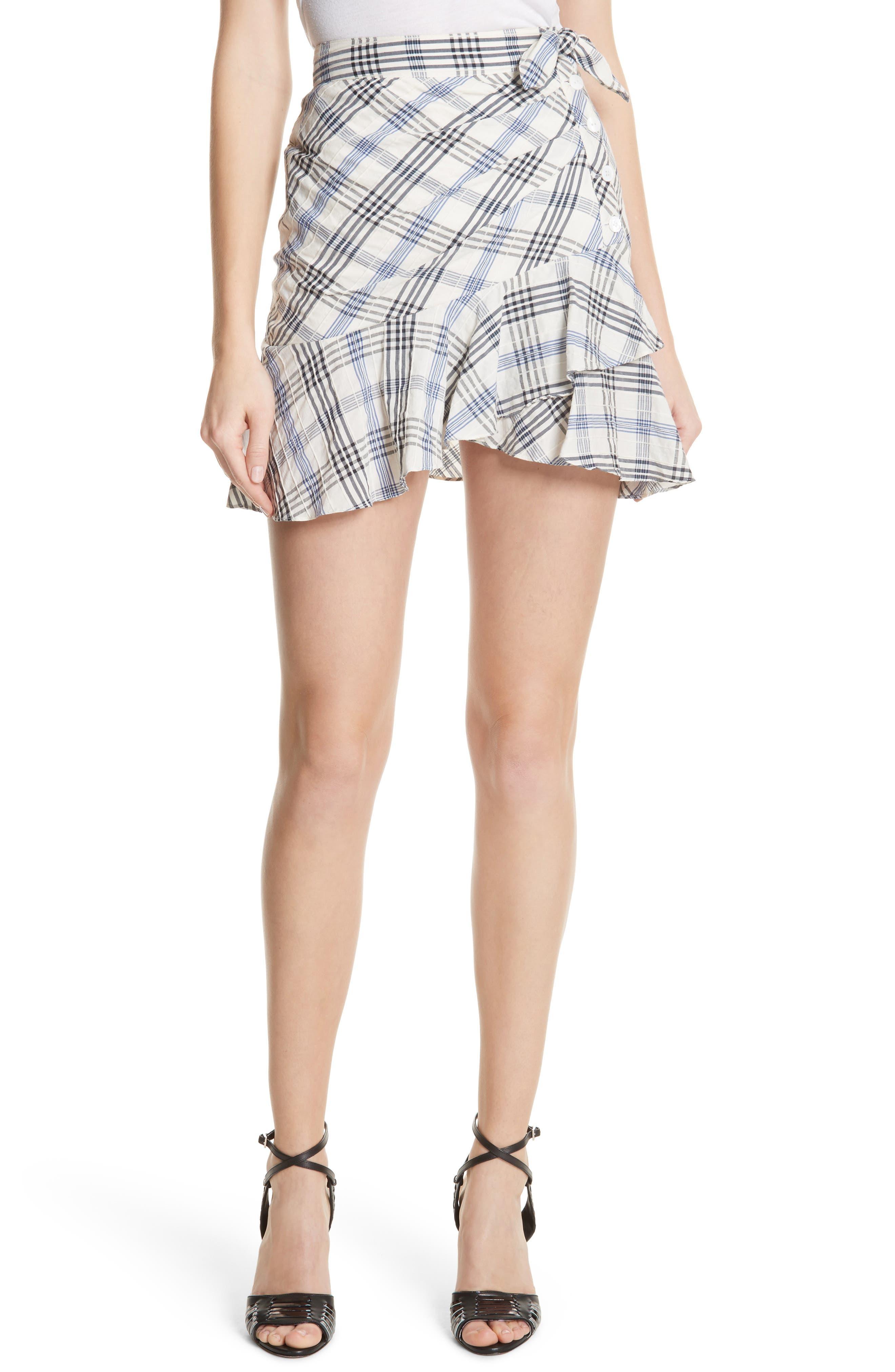 Kaia Check Ruffle Skirt,                         Main,                         color, Blue