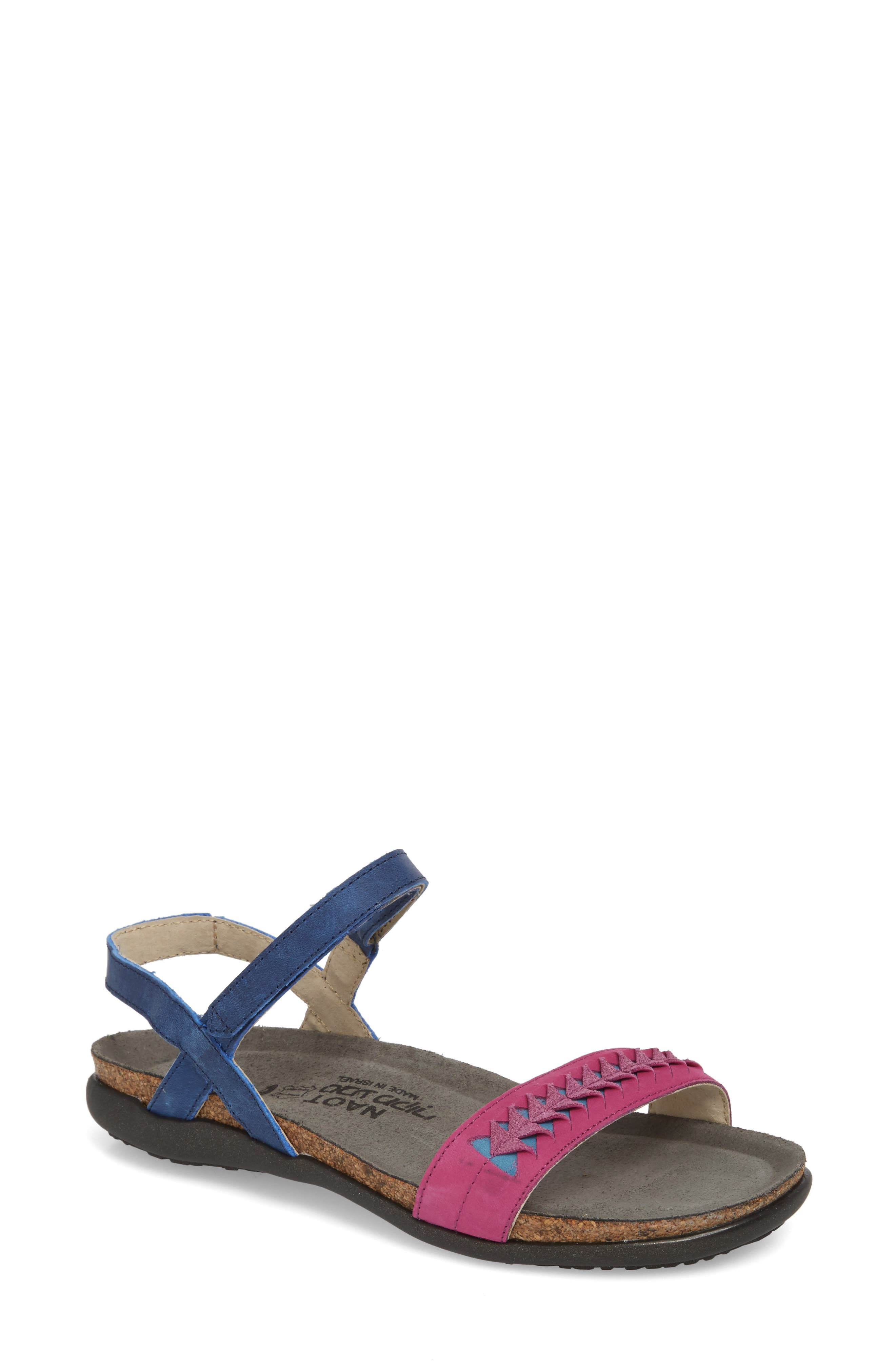 Marble Sandal,                             Main thumbnail 1, color,                             Oily Blue Nubuck