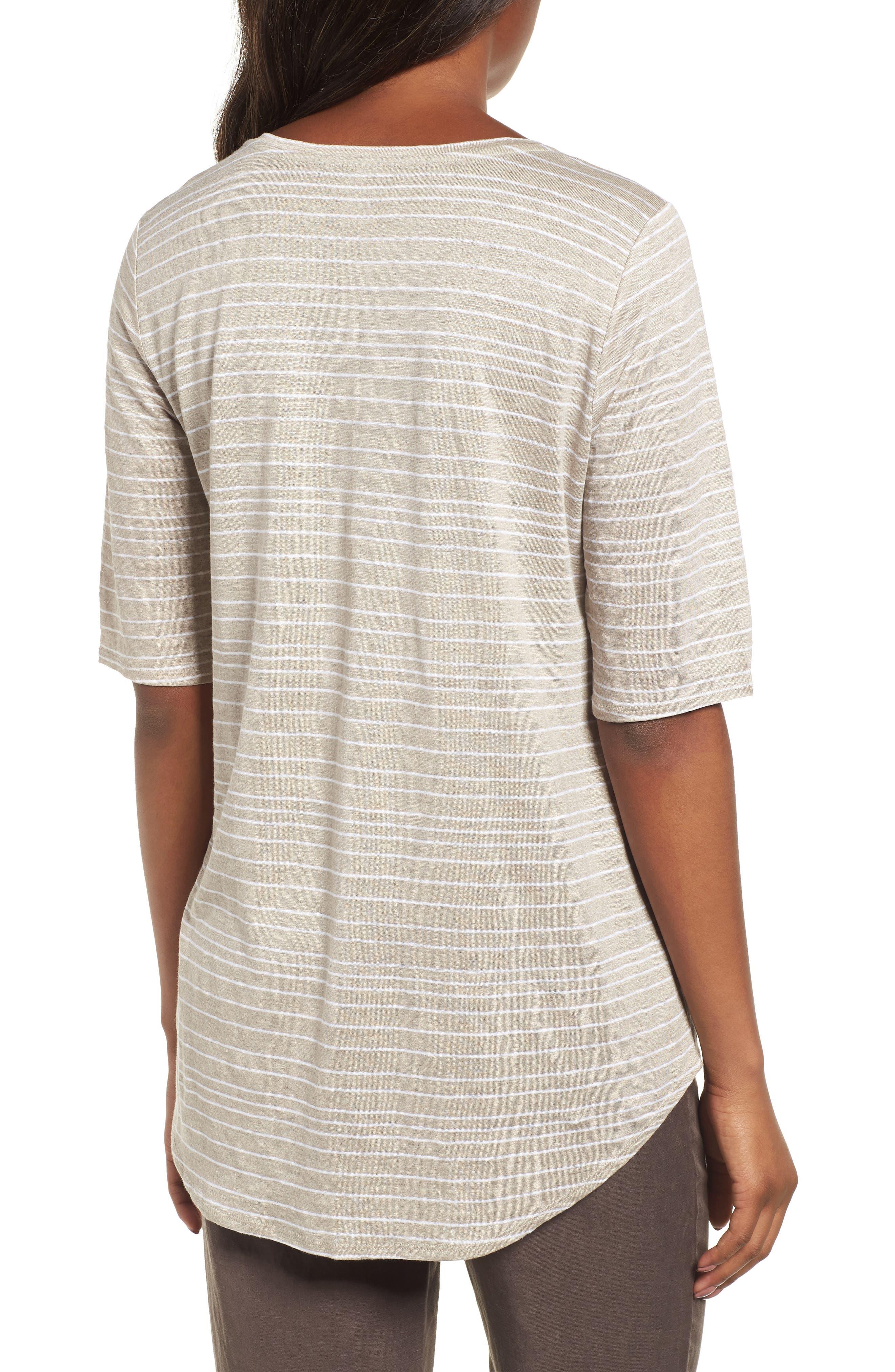 Stripe Organic Linen Top,                             Alternate thumbnail 2, color,                             Natural