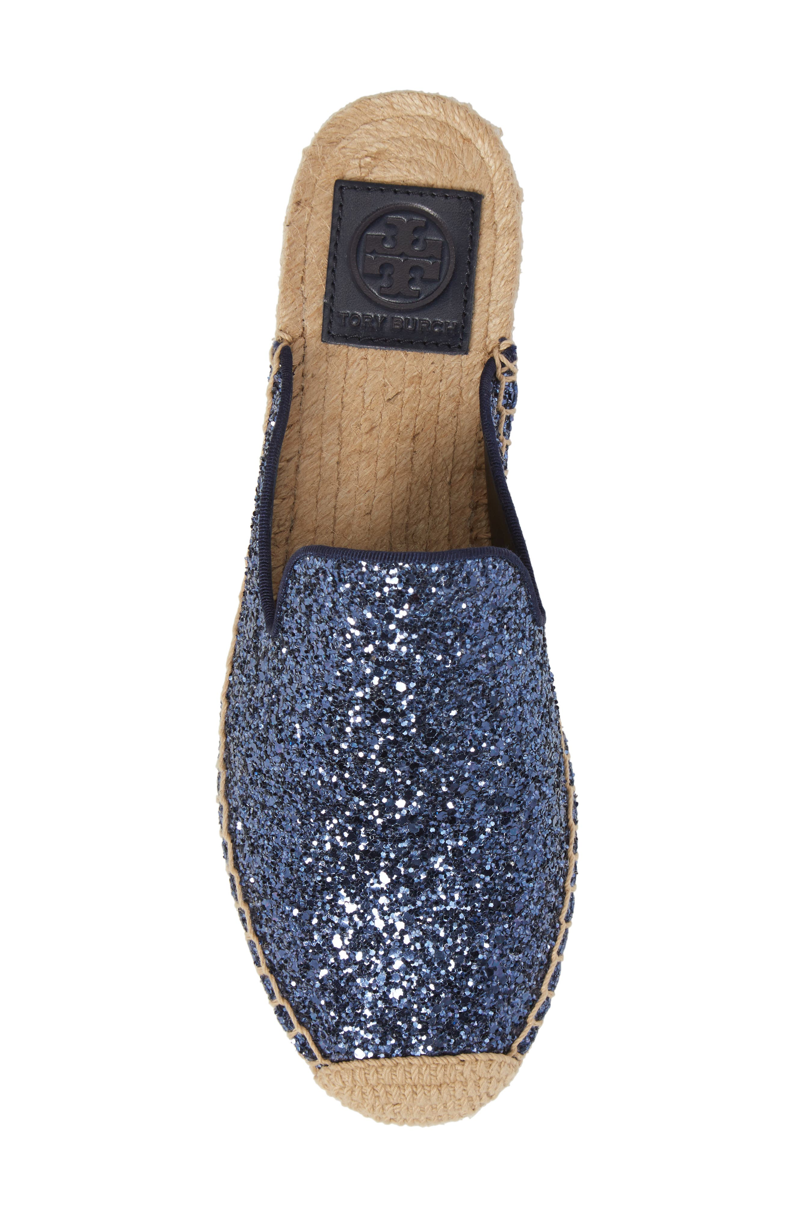 Max Glitter Espadrille Mule,                             Alternate thumbnail 5, color,                             Perfect Navy