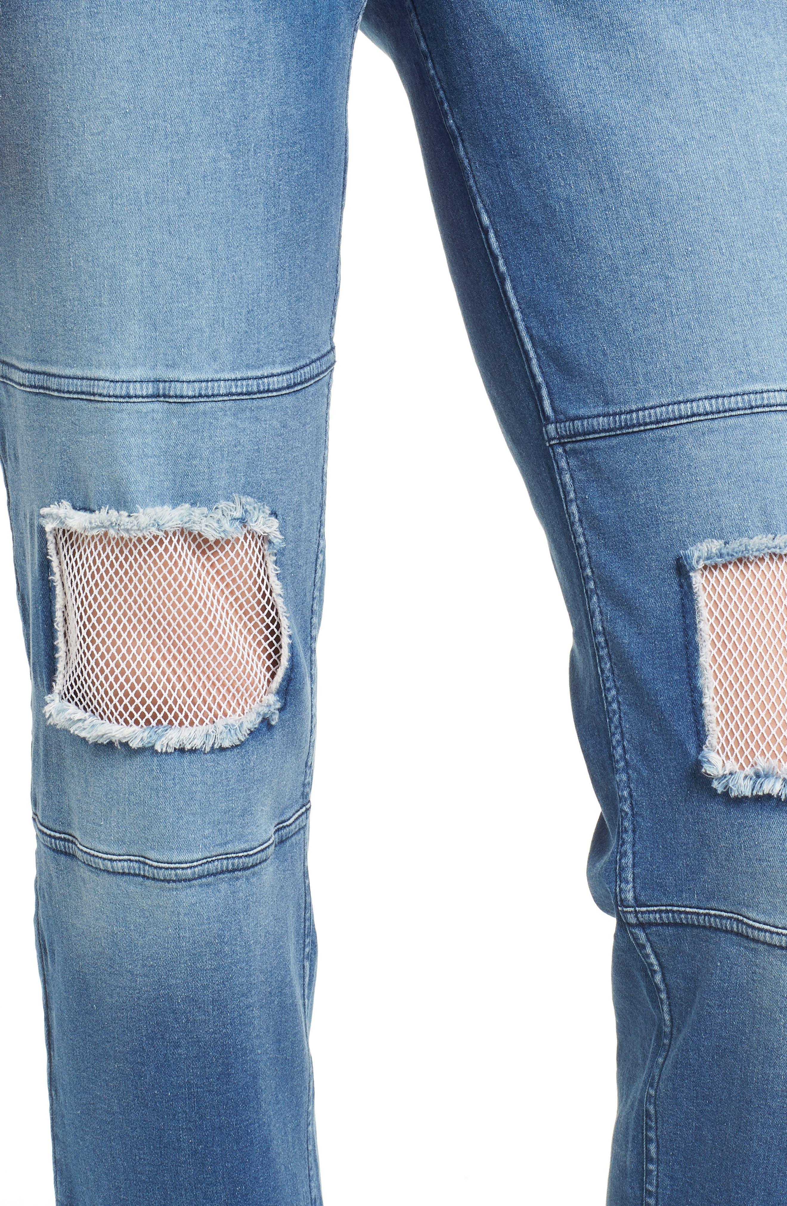 Fishnet Knee Patch Denim Skimmer Leggings,                             Alternate thumbnail 4, color,                             Stonewash