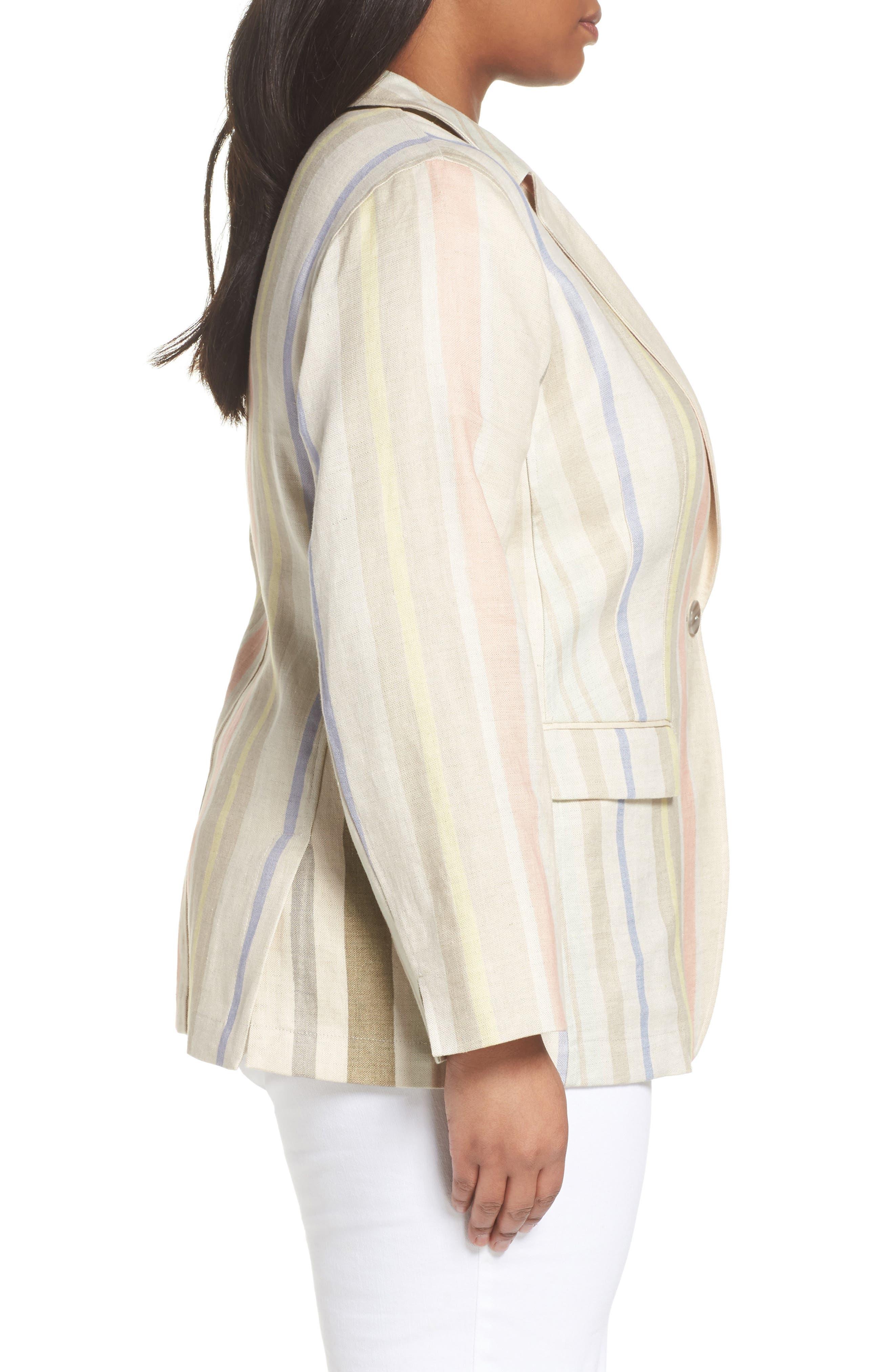 Marie Stripe Linen Jacket,                             Alternate thumbnail 3, color,                             Raffia Multi