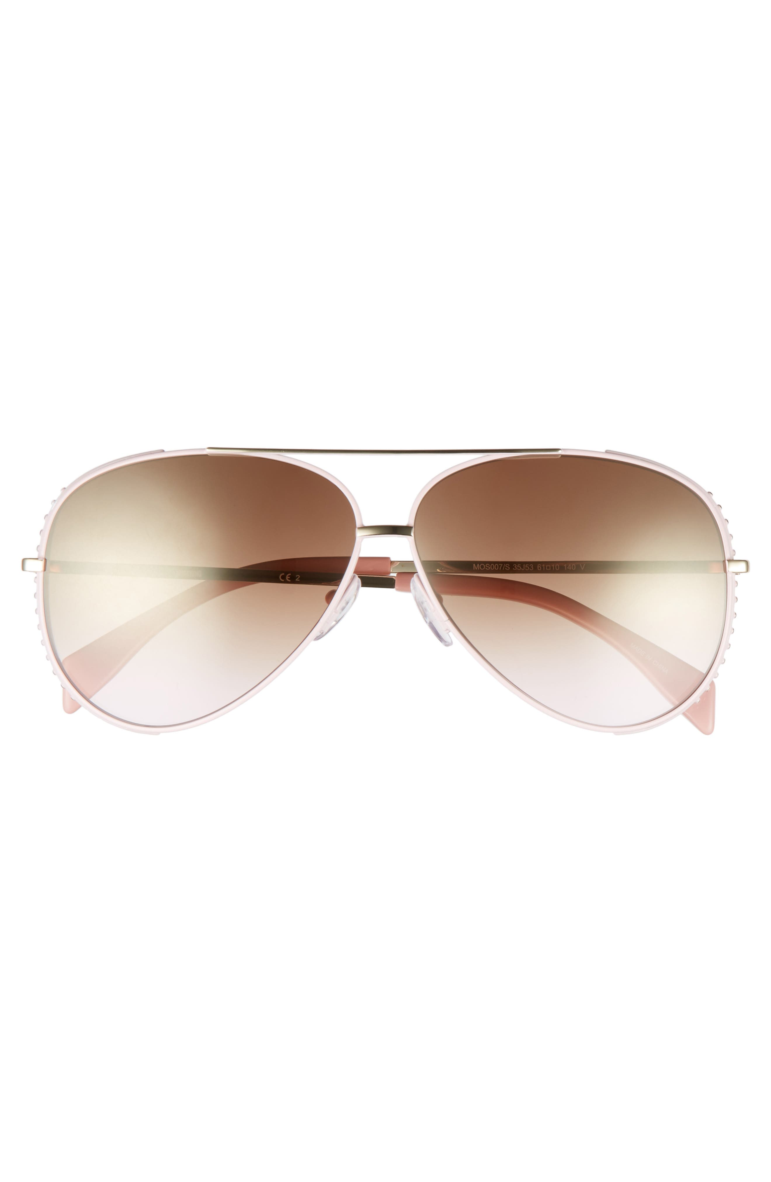 61mm Metal Aviator Sunglasses,                             Alternate thumbnail 3, color,                             Pink