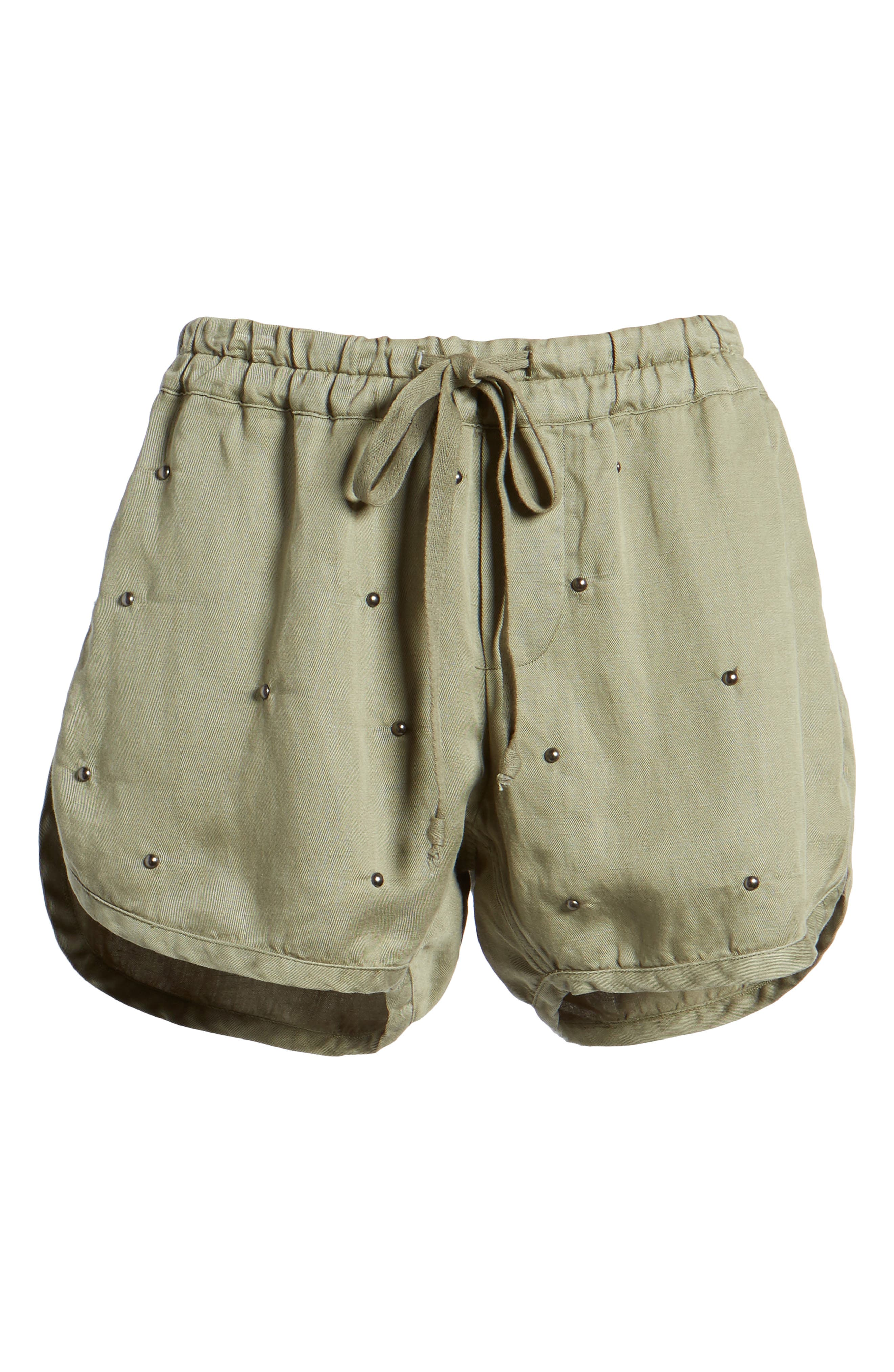 Thatcher Drawstring Shorts,                             Alternate thumbnail 6, color,                             Sage Studded