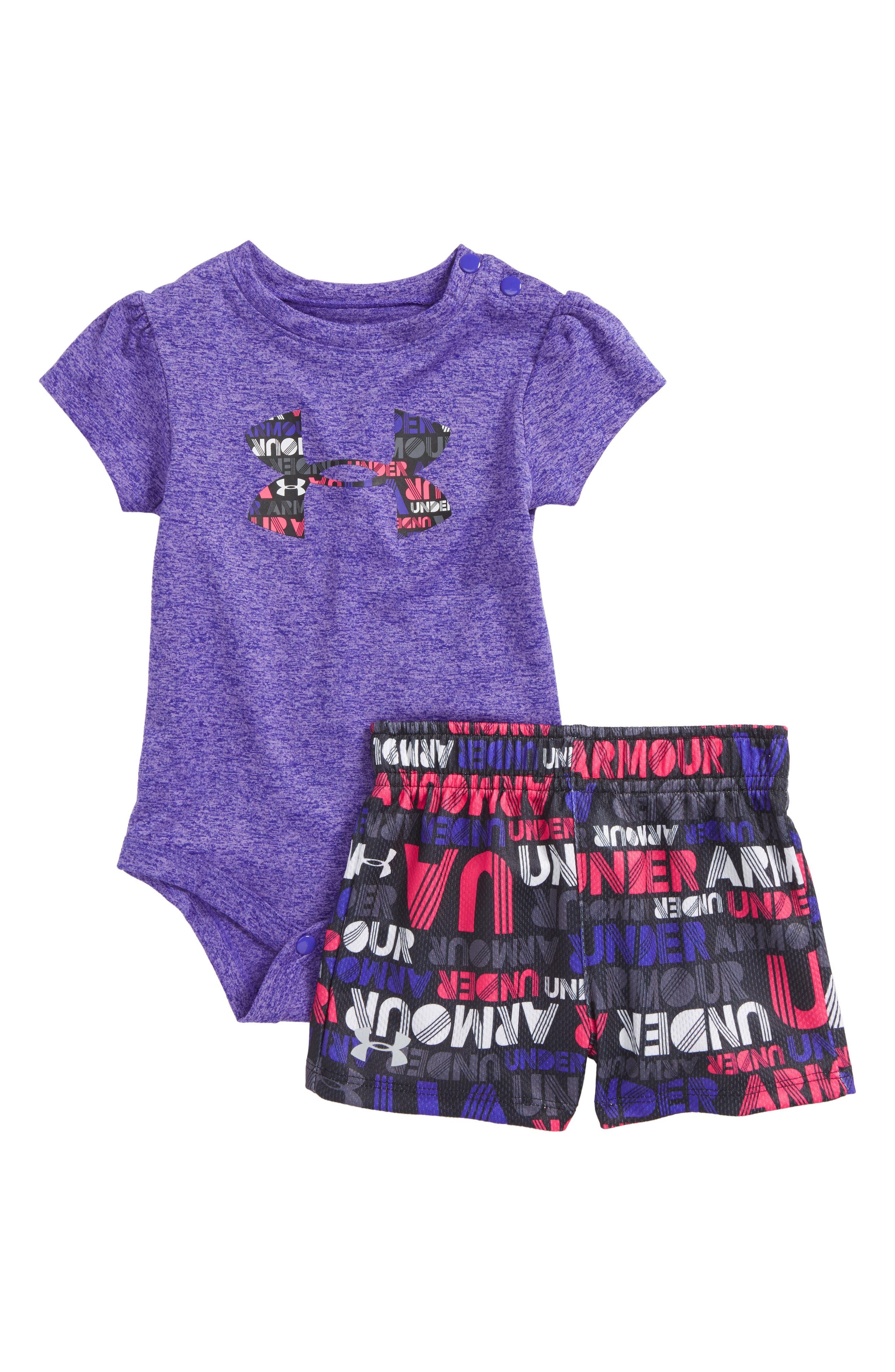 Under Armour Big Logo Bodysuit & Shorts Set (Baby Girls)