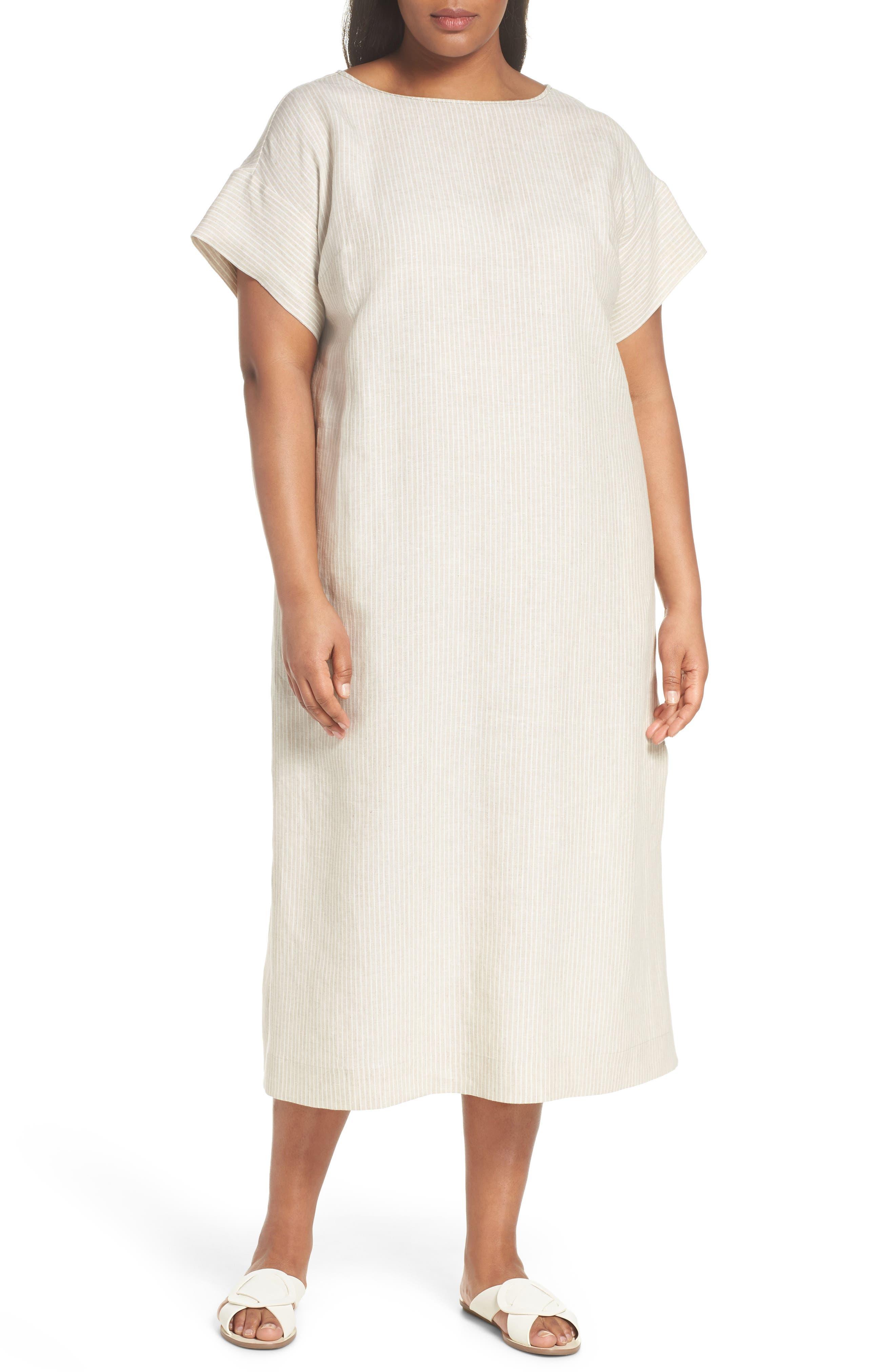 Emiline Stripe Linen Dress,                             Main thumbnail 1, color,                             Tahini Multi