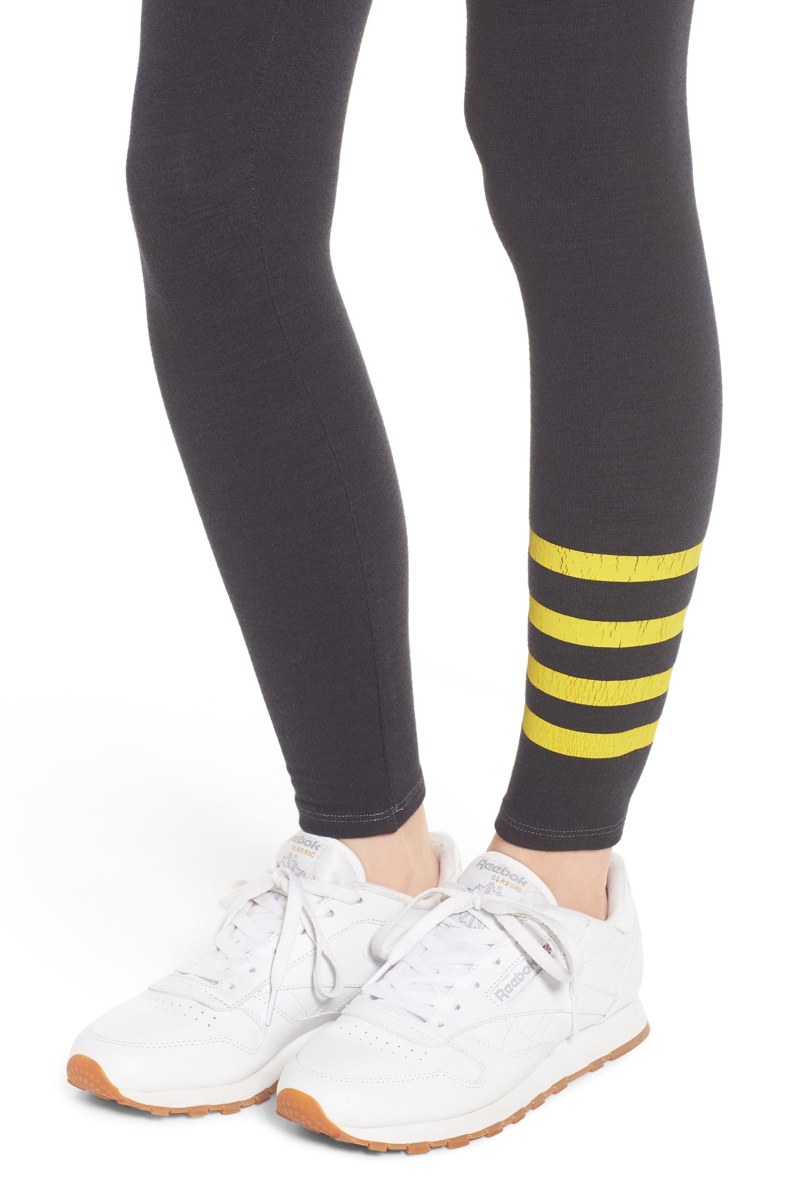 Stripe Yoga Pants,                             Alternate thumbnail 4, color,                             Old Black