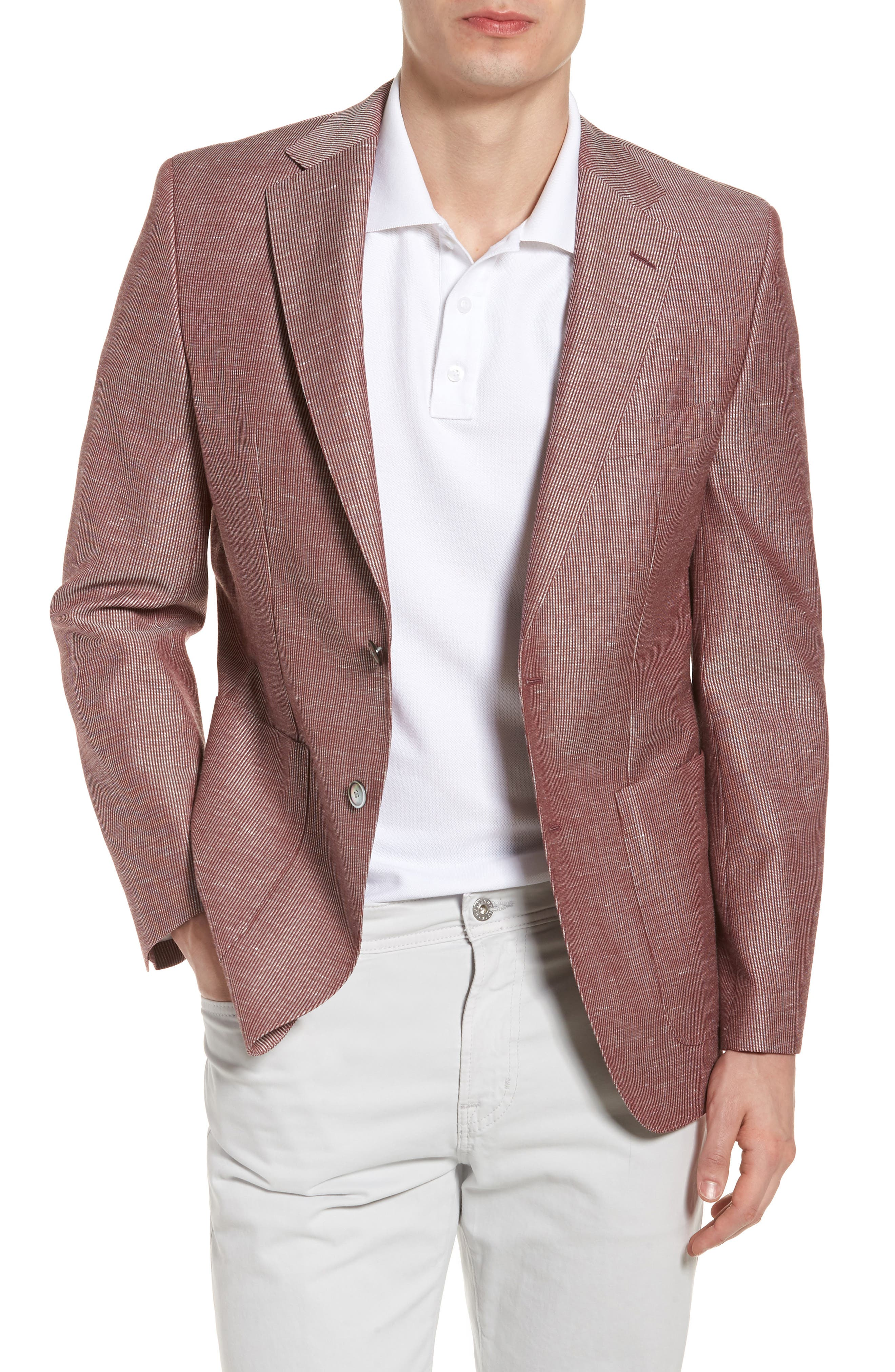 Janson Classic Fit Stripe Wool Blend Sport Coat,                         Main,                         color, Red
