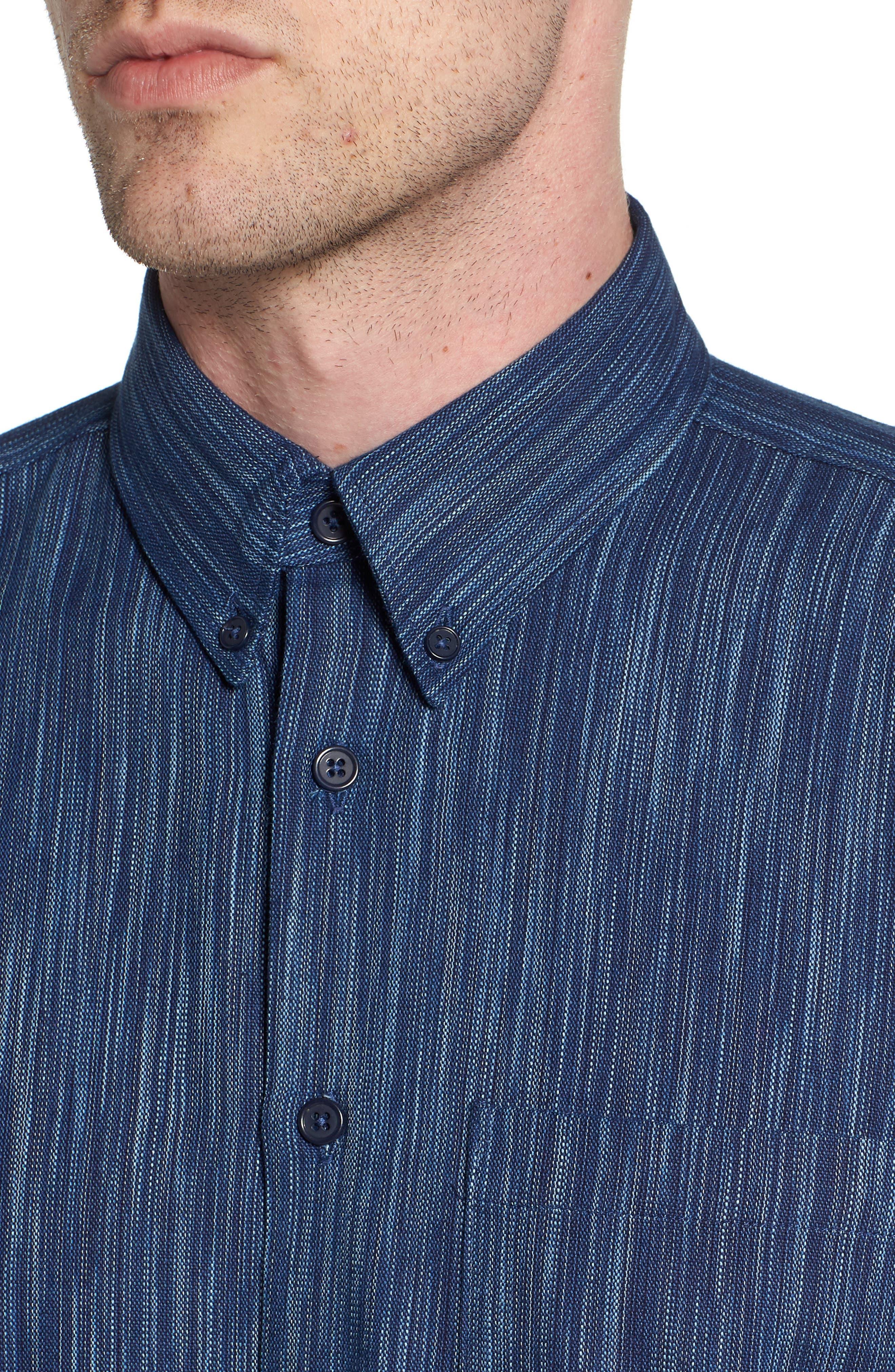 Indigo Tie Dye Rain Weave Shirt,                             Alternate thumbnail 4, color,                             Blue