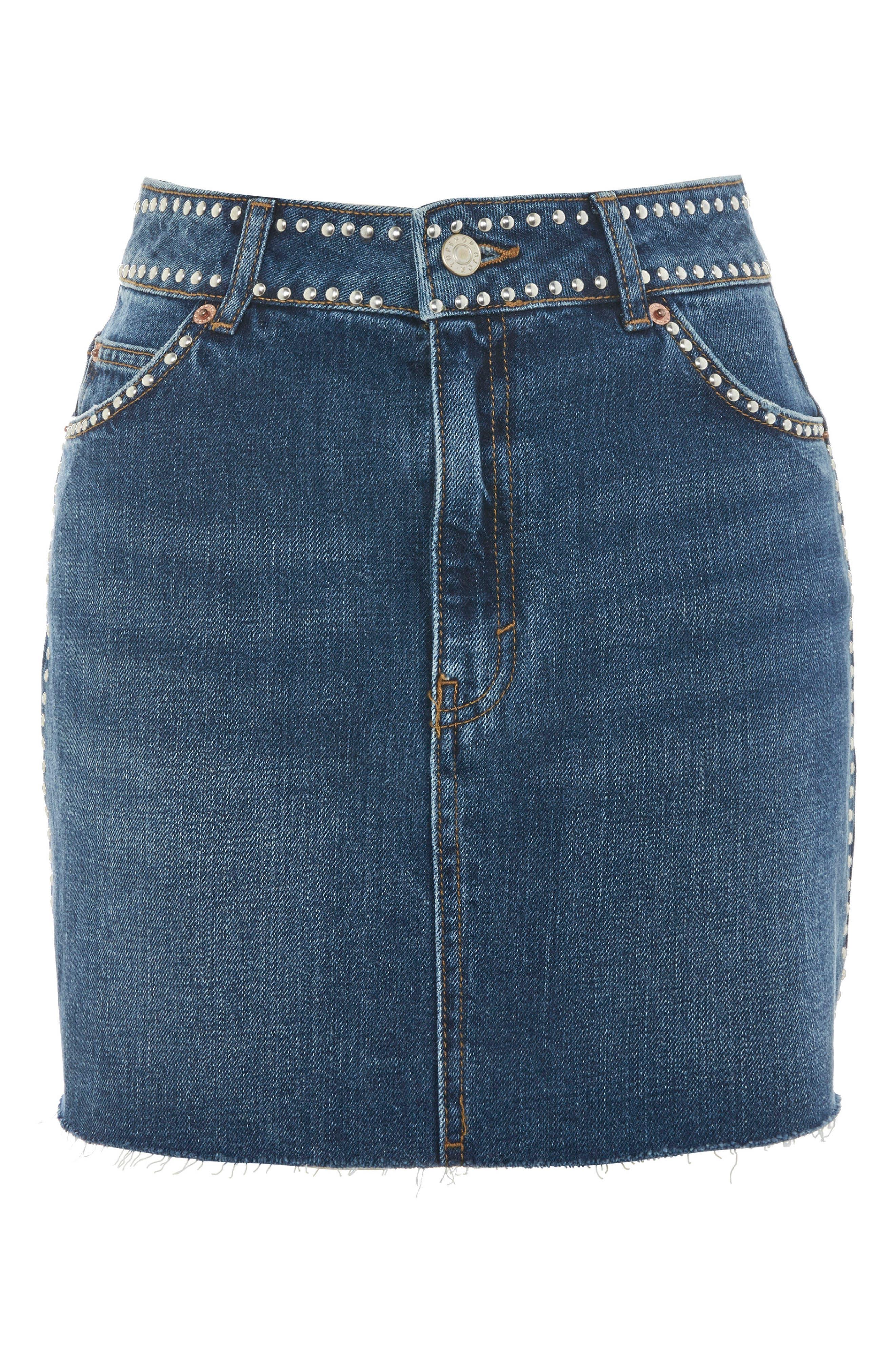 Studded Denim Skirt,                             Alternate thumbnail 4, color,                             Mid Denim