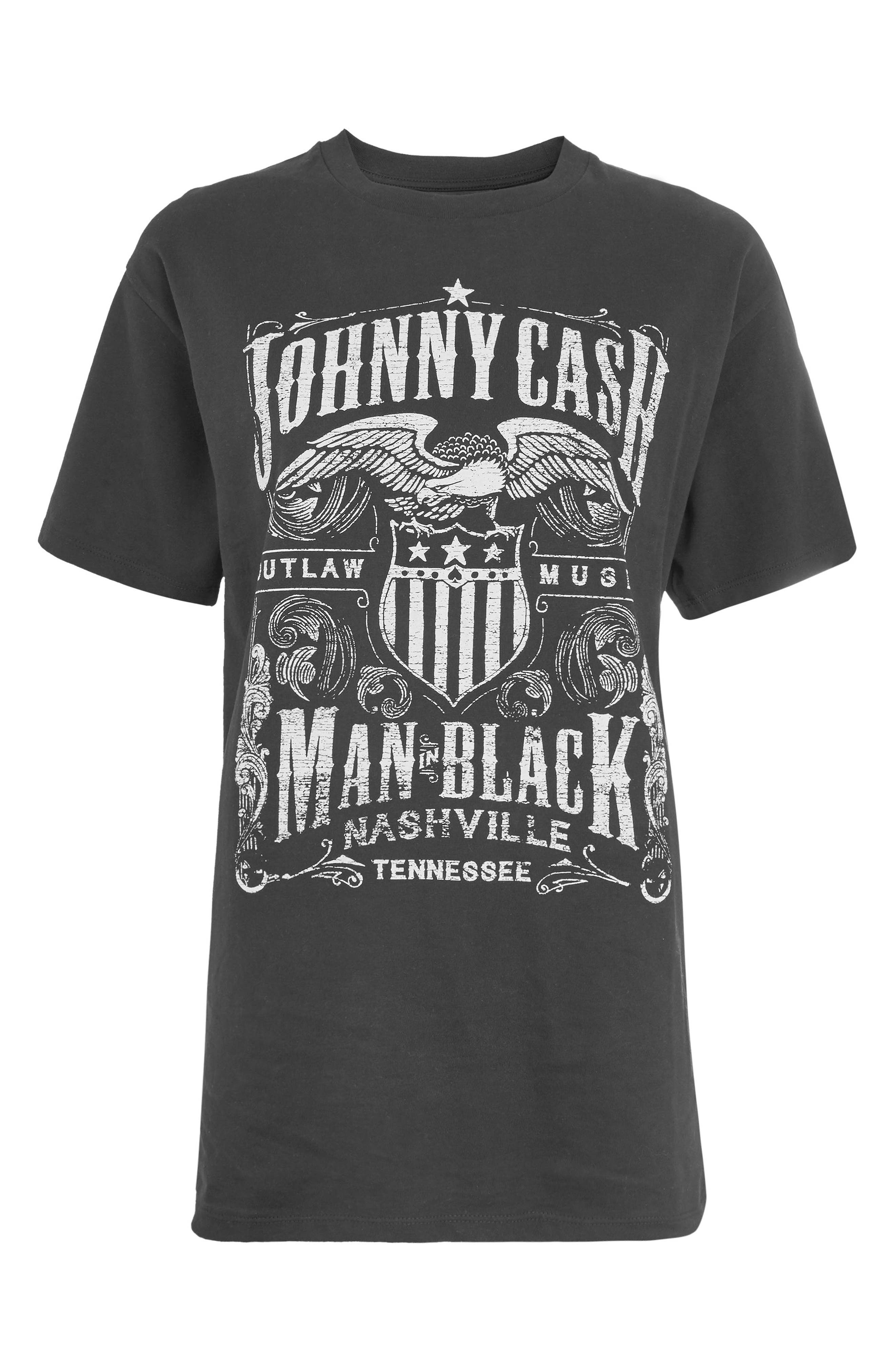 by And Finally Johnny Cash Fringe Tee,                             Alternate thumbnail 4, color,                             Black Multi